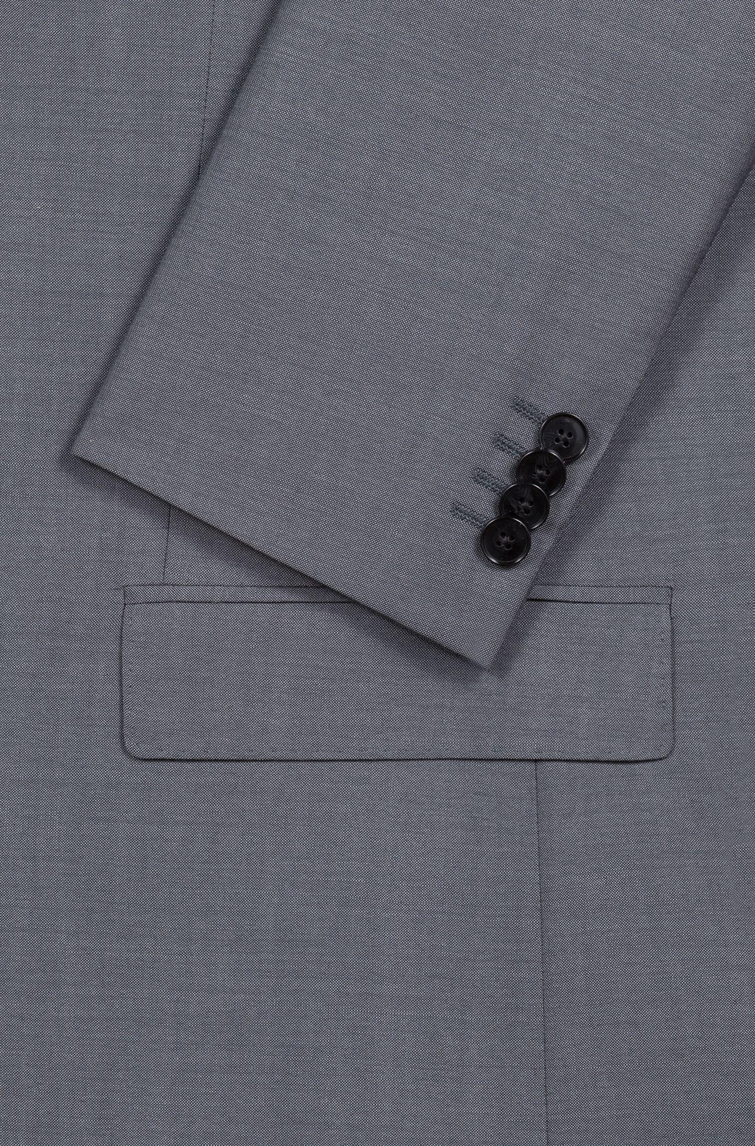 Strukturierter Regular-Fit Anzug aus Schurwolle, Dunkelgrau