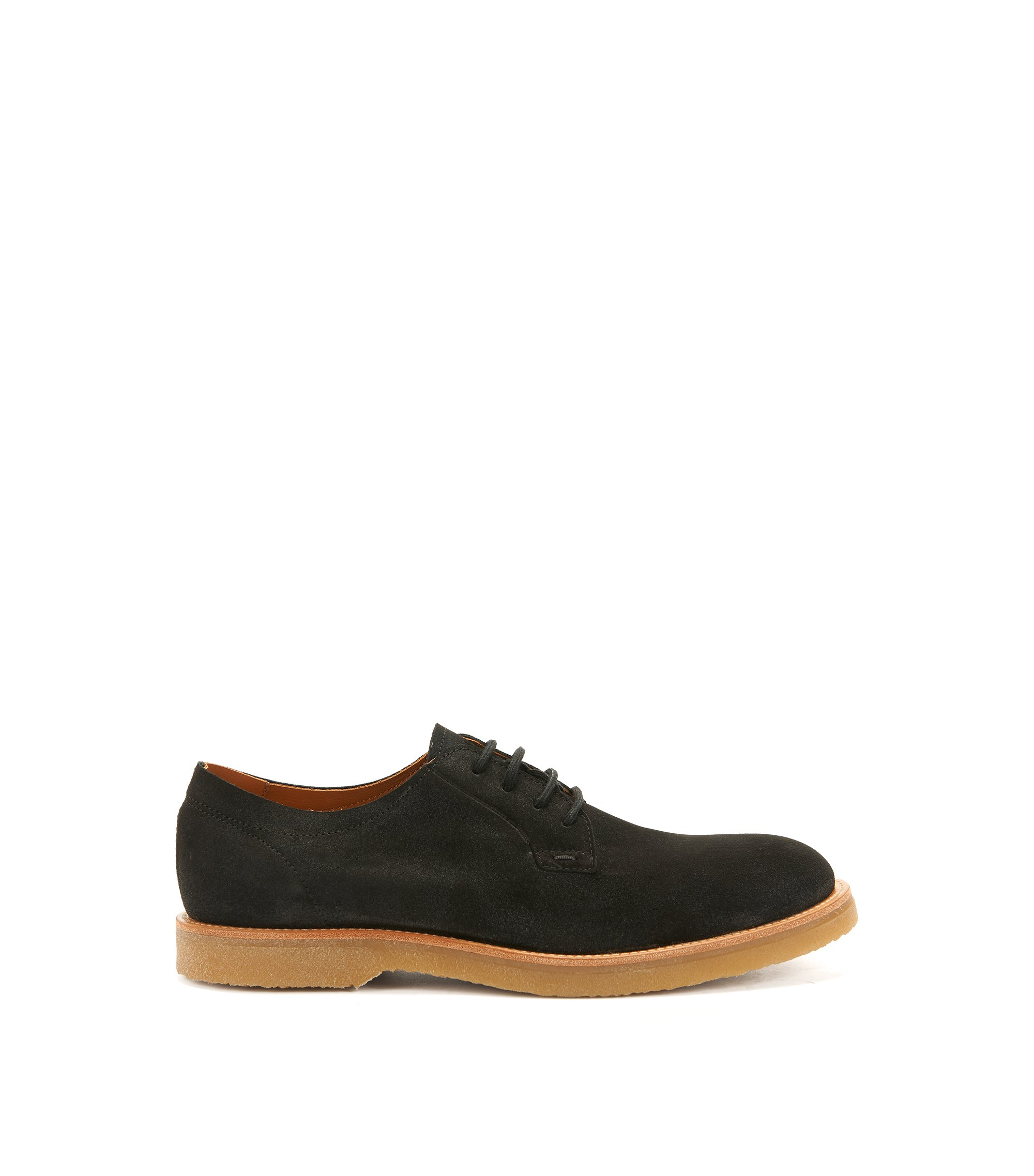 Lace-up suede Derby shoes with rubber soles, Dark Grey