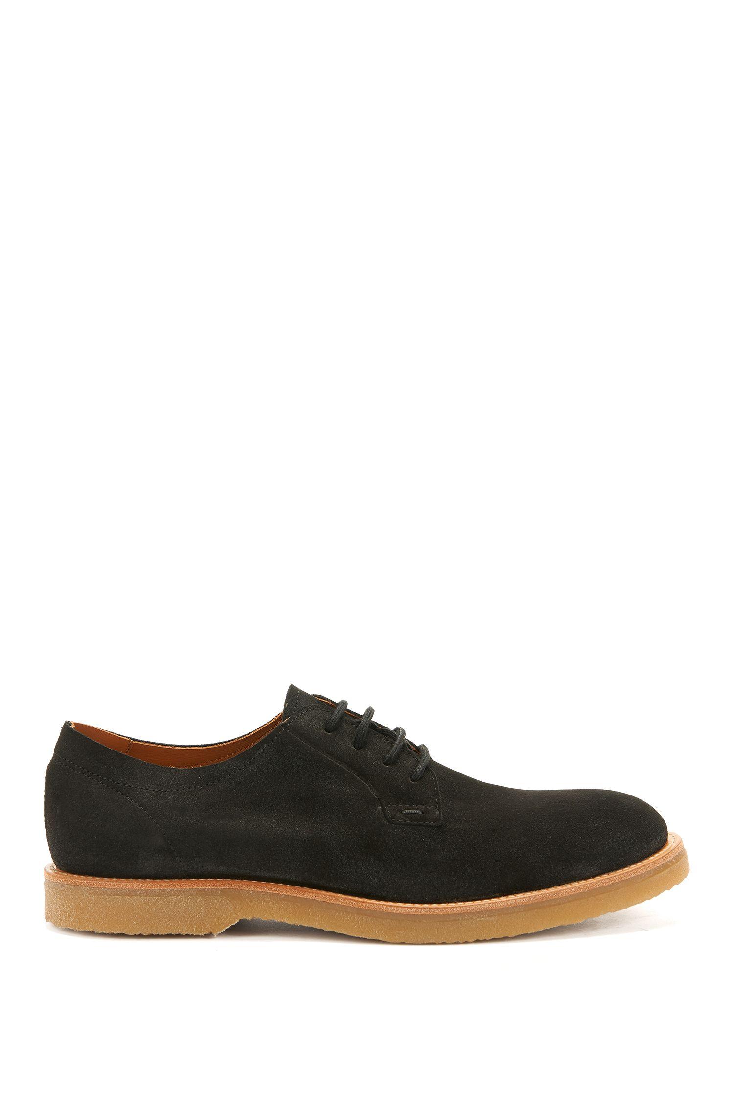Zapatos Derby de ante con cordones y suela de goma