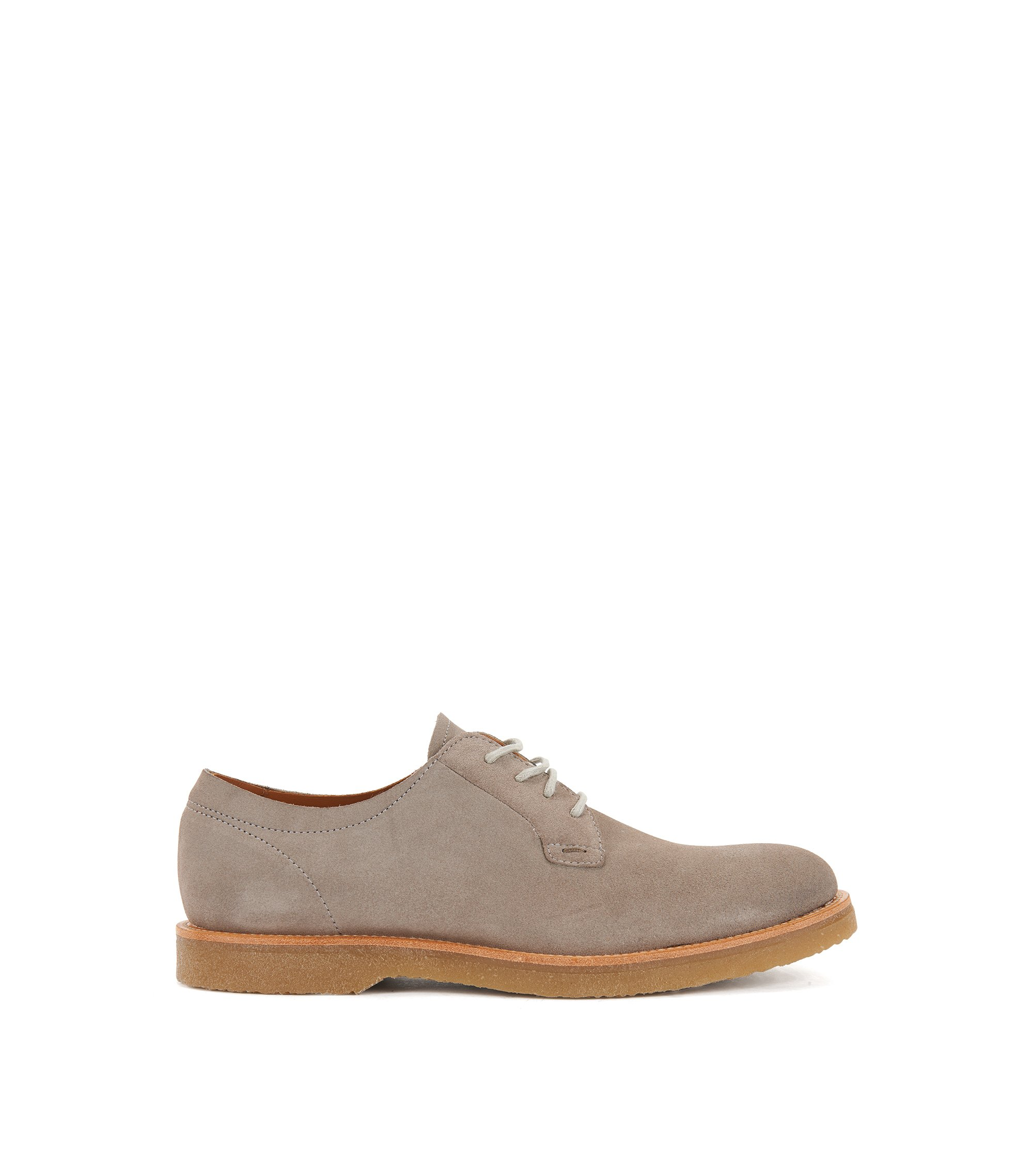 Lace-up suede Derby shoes with rubber soles, Light Grey