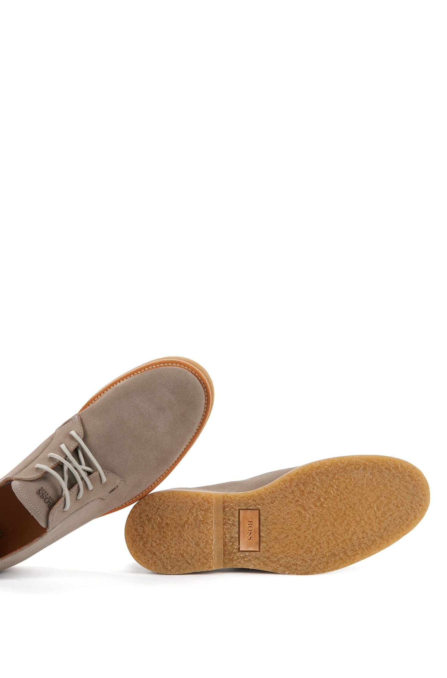 Lace-up suede Derby shoes with rubber soles