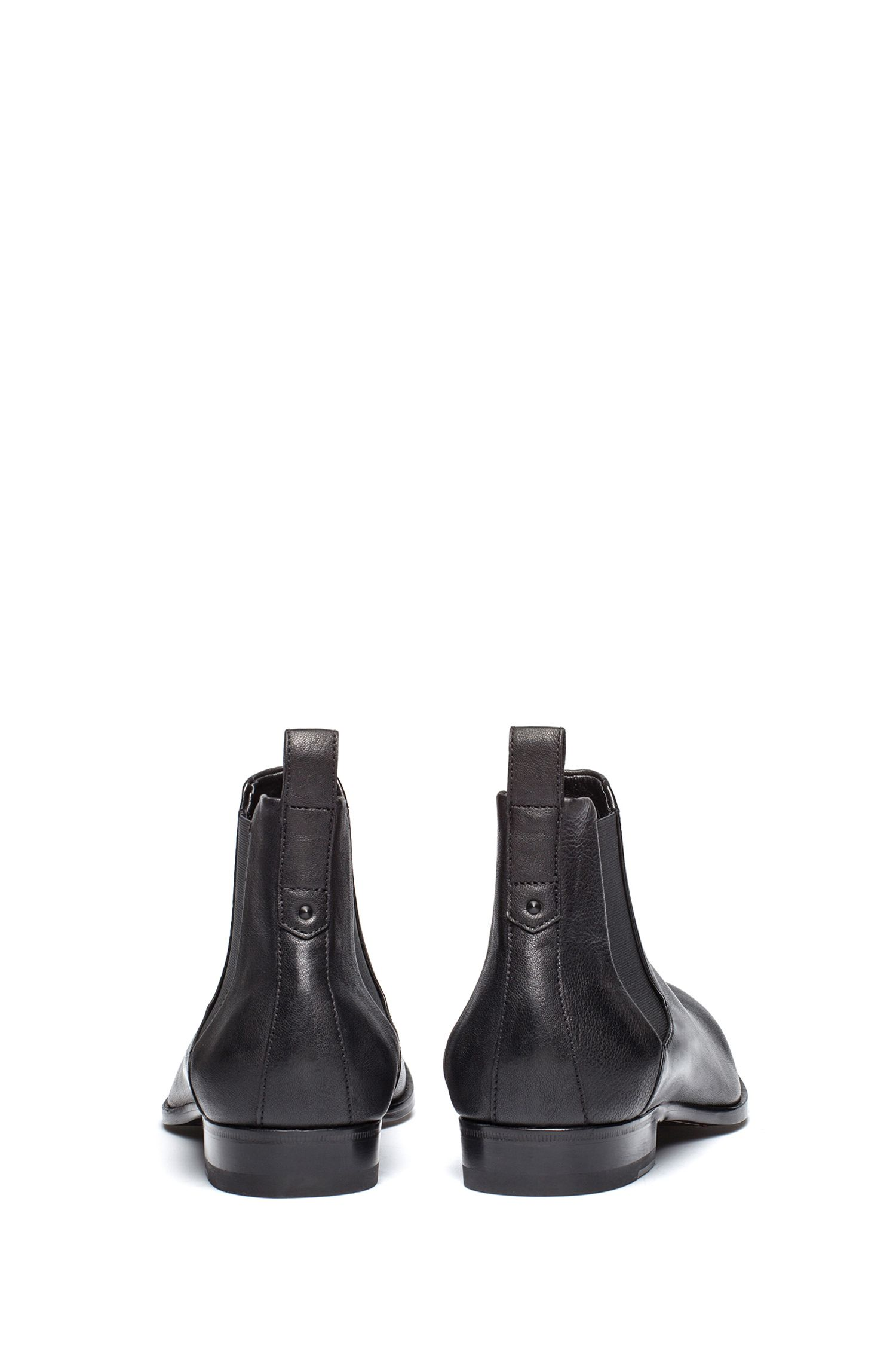 Chelsea boots in grained leather with a distinctive heel HUGO BOSS