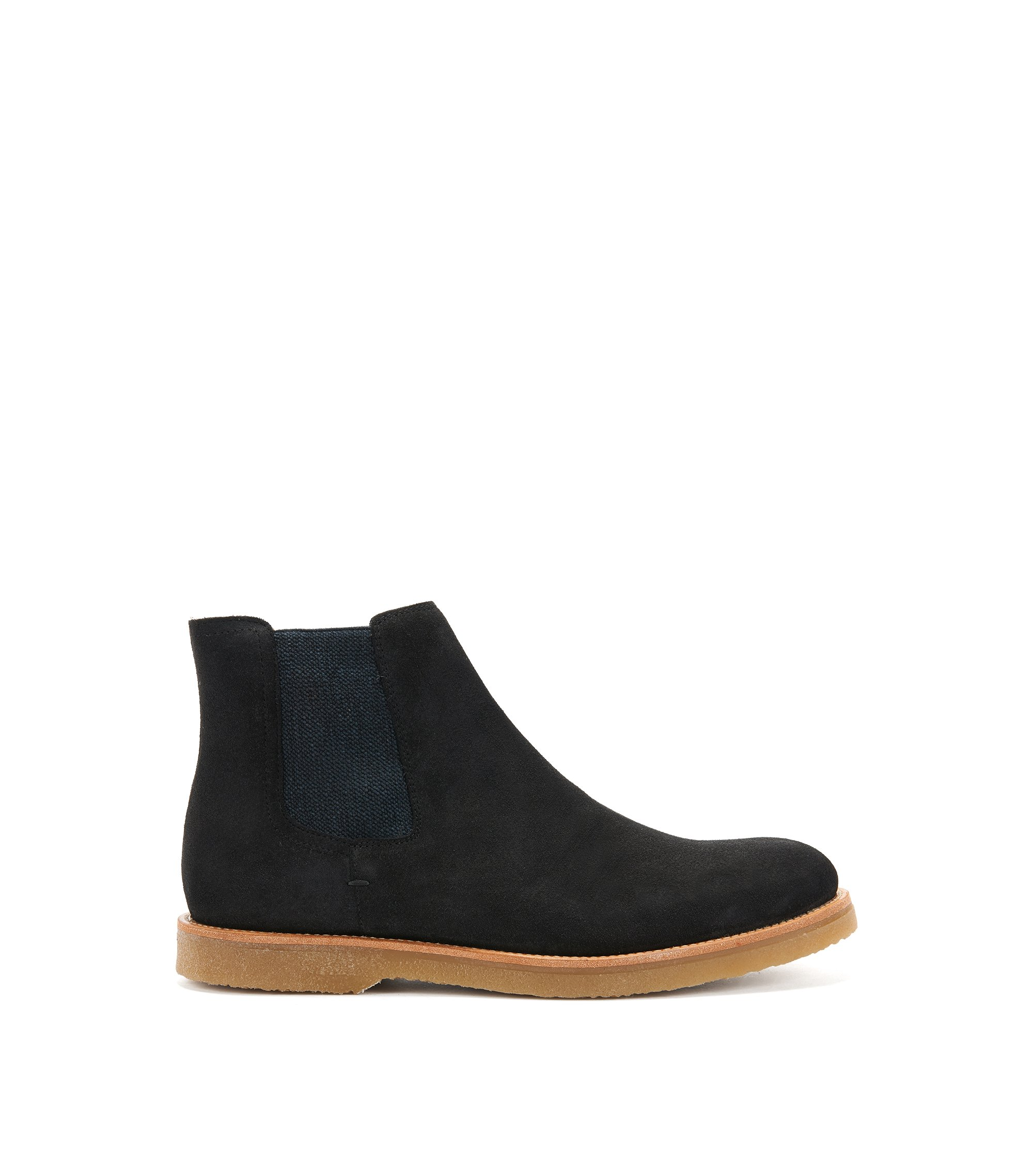Suede Chelsea boots with rubber soles, Dark Grey