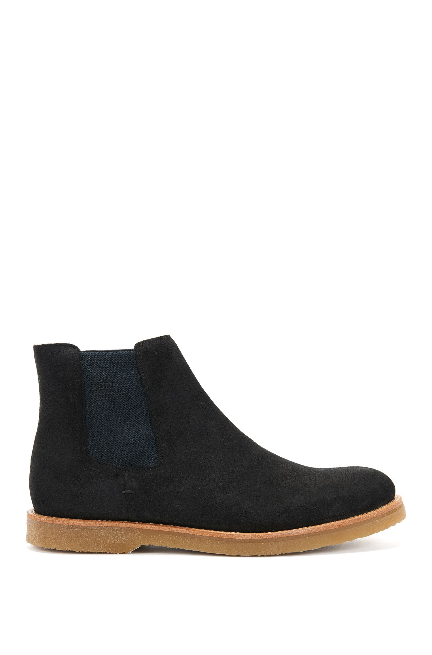 Suede Chelsea boots with rubber soles