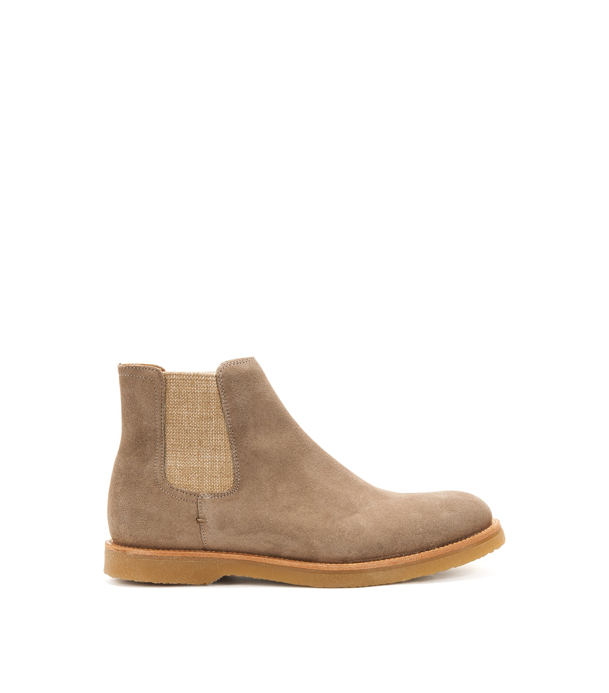 Suede Chelsea boots with rubber soles, Light Brown