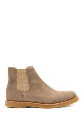 Suede Chelsea boots with rubber soles BOSS OvFjUF