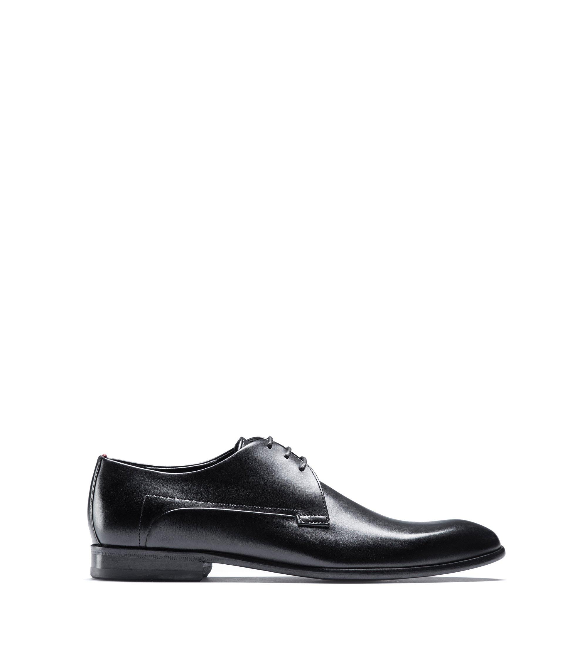 Chaussures derby en cuir de veau avec semelle tout cuir, Noir