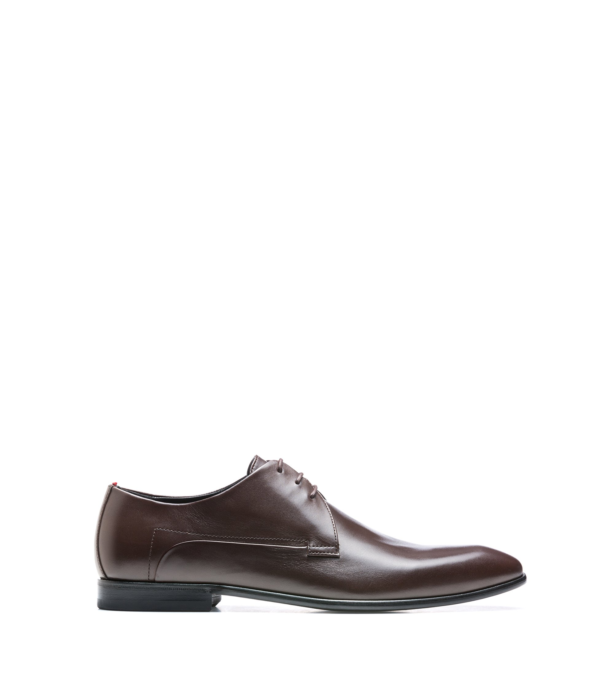 Calf-leather Derby shoes with full leather sole, Dark Brown