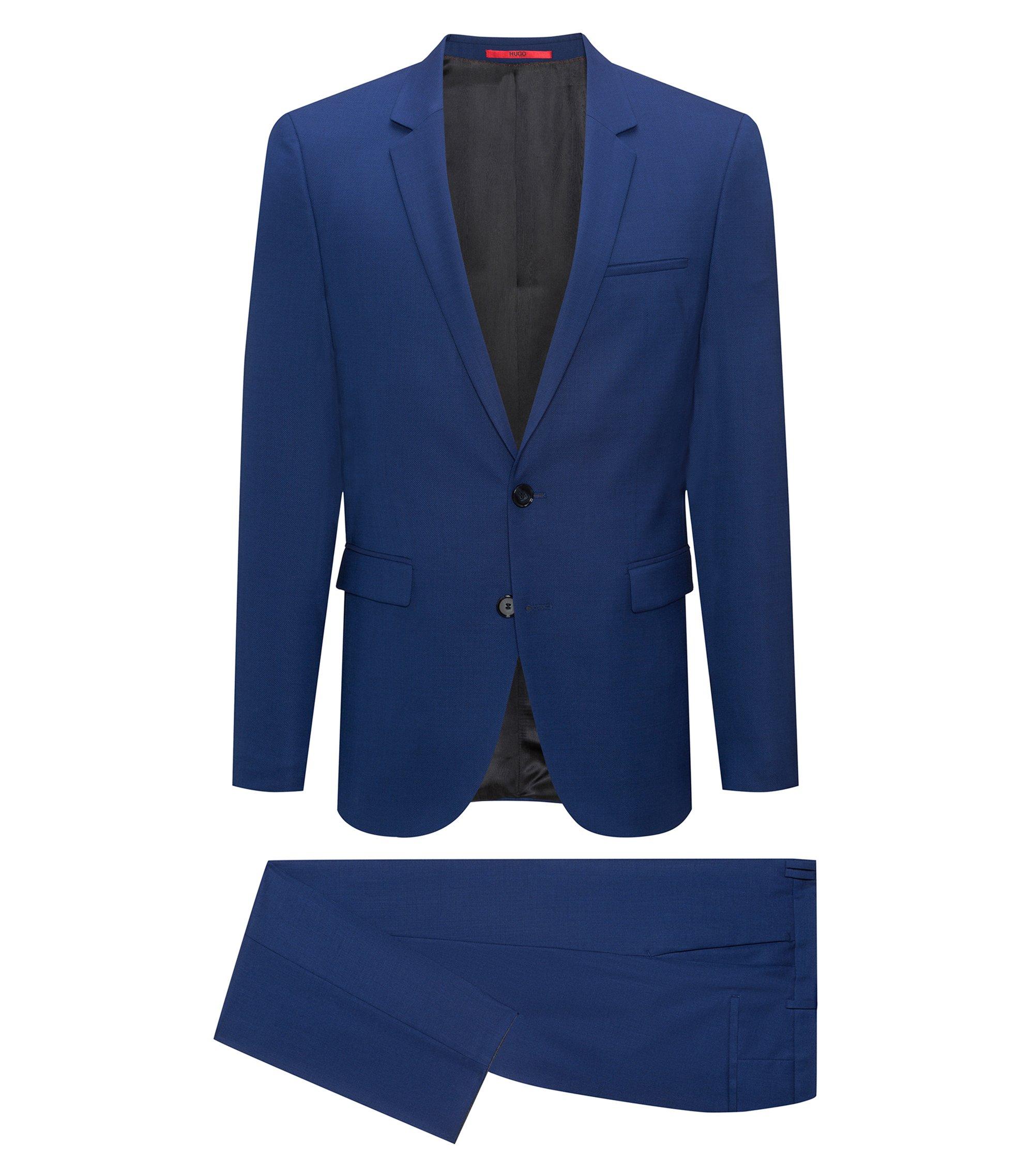 Abito extra slim fit in lana vergine realizzata in Italia, Blu scuro