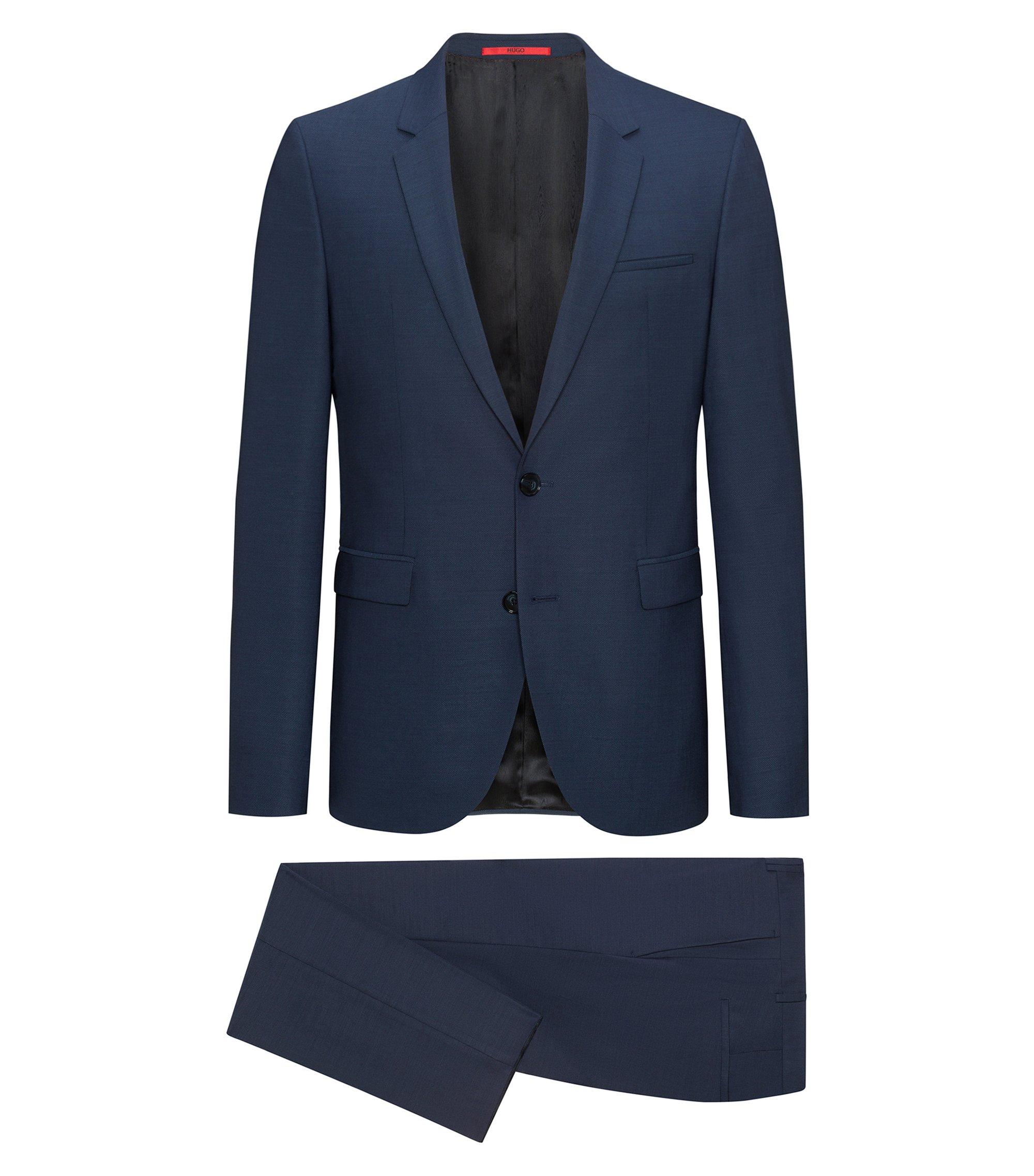Extra slim-fit kostuum van Italiaanse scheerwol, Blauw