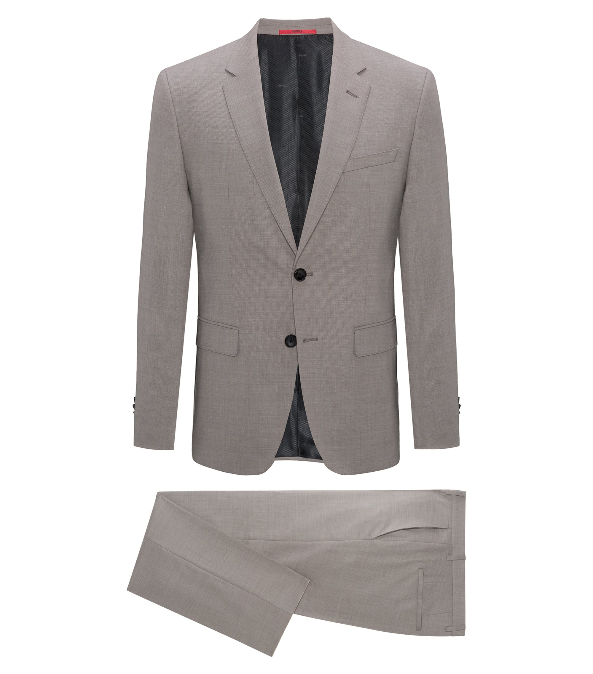 Regular-fit suit in structured virgin wool, Beige