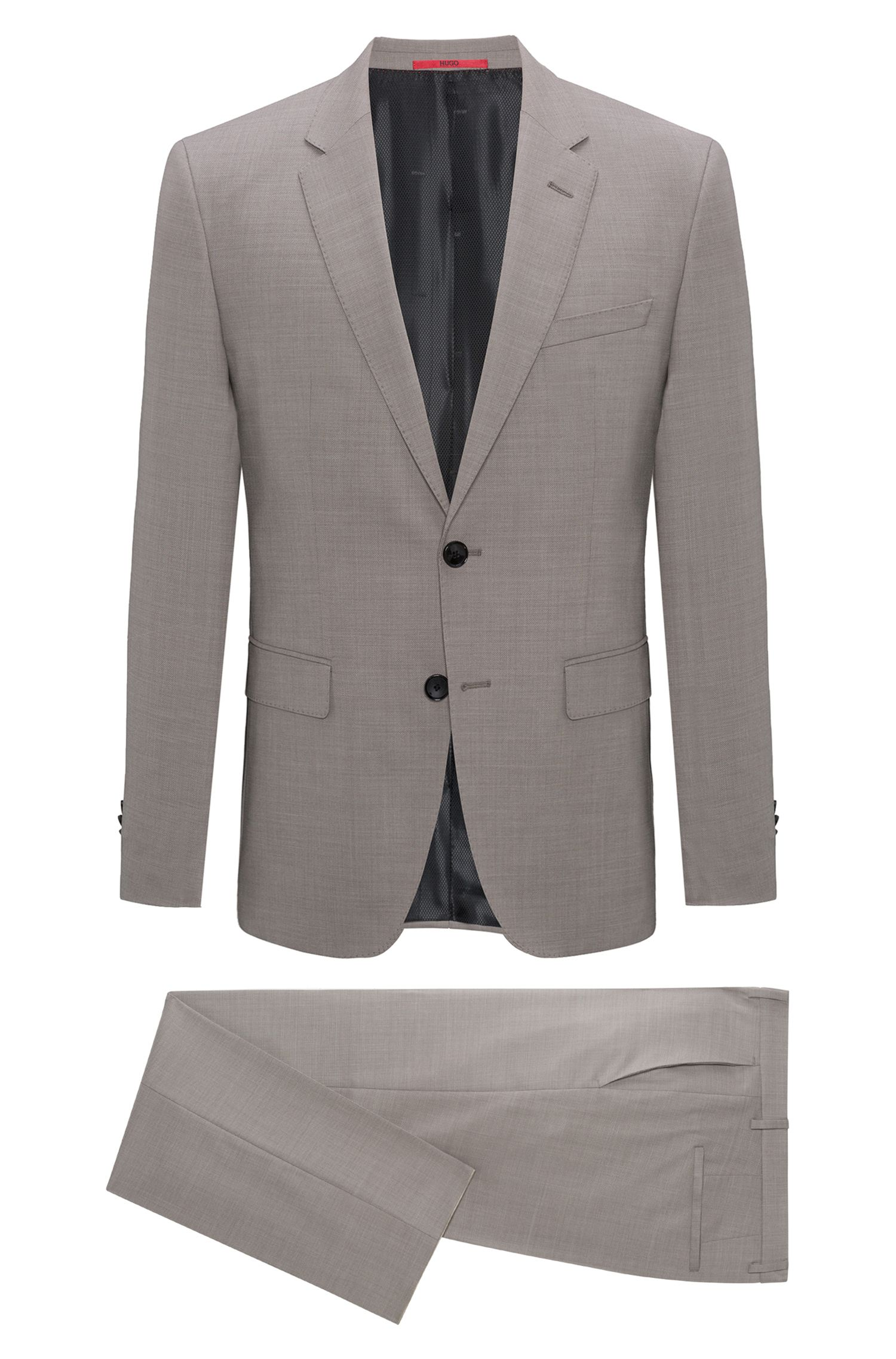 Regular-fit suit in structured virgin wool
