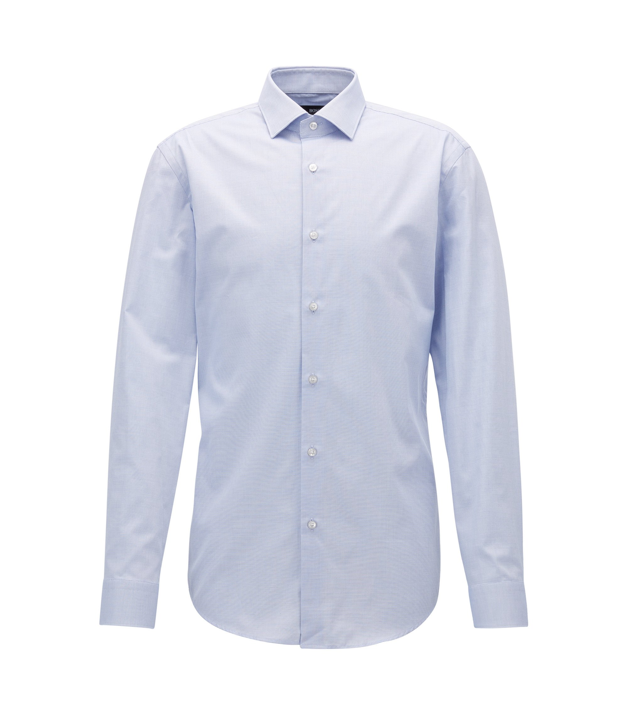 Micro-pattern cotton shirt in a slim fit, Blue