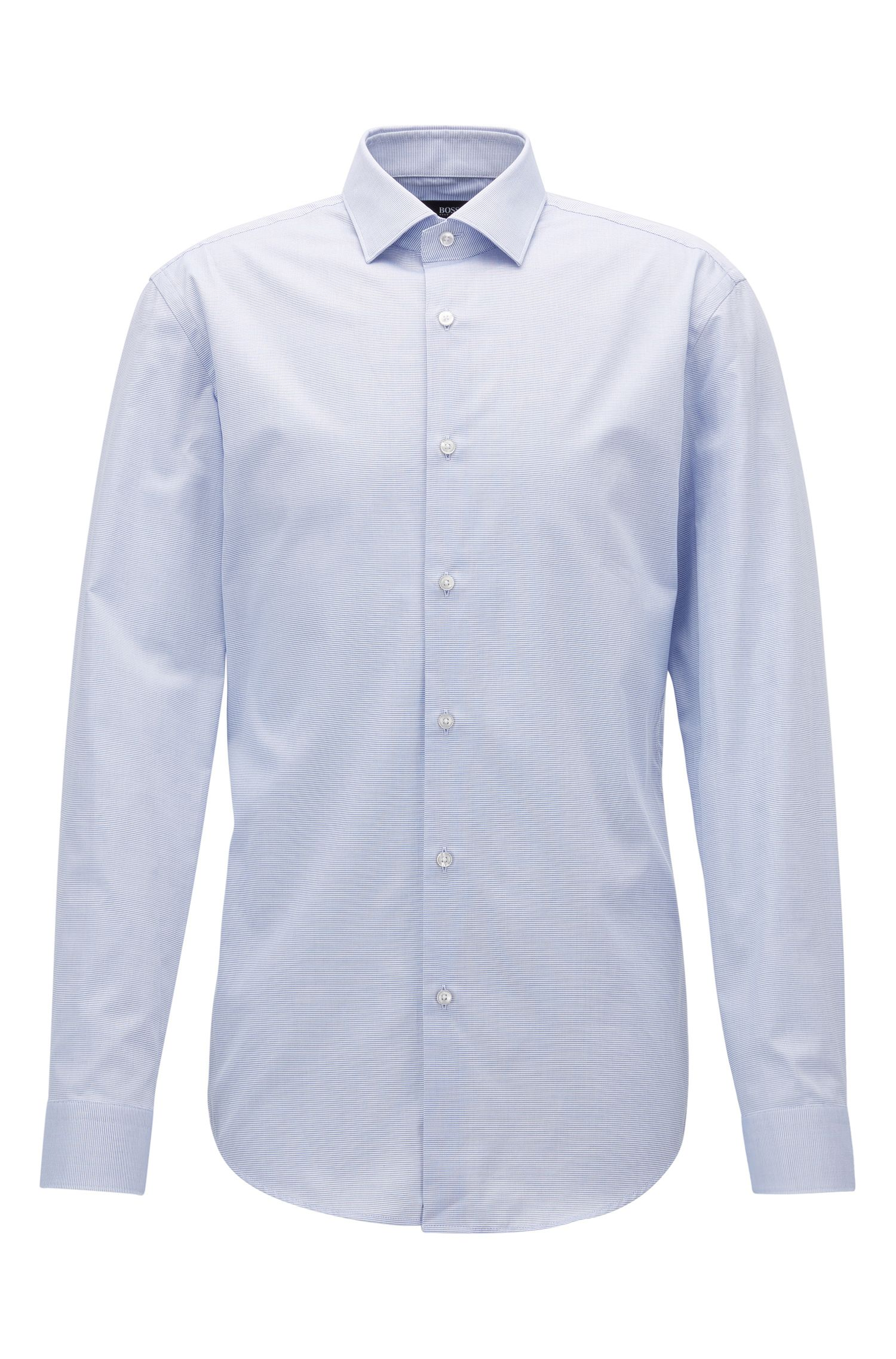 Micro-pattern cotton shirt in a slim fit