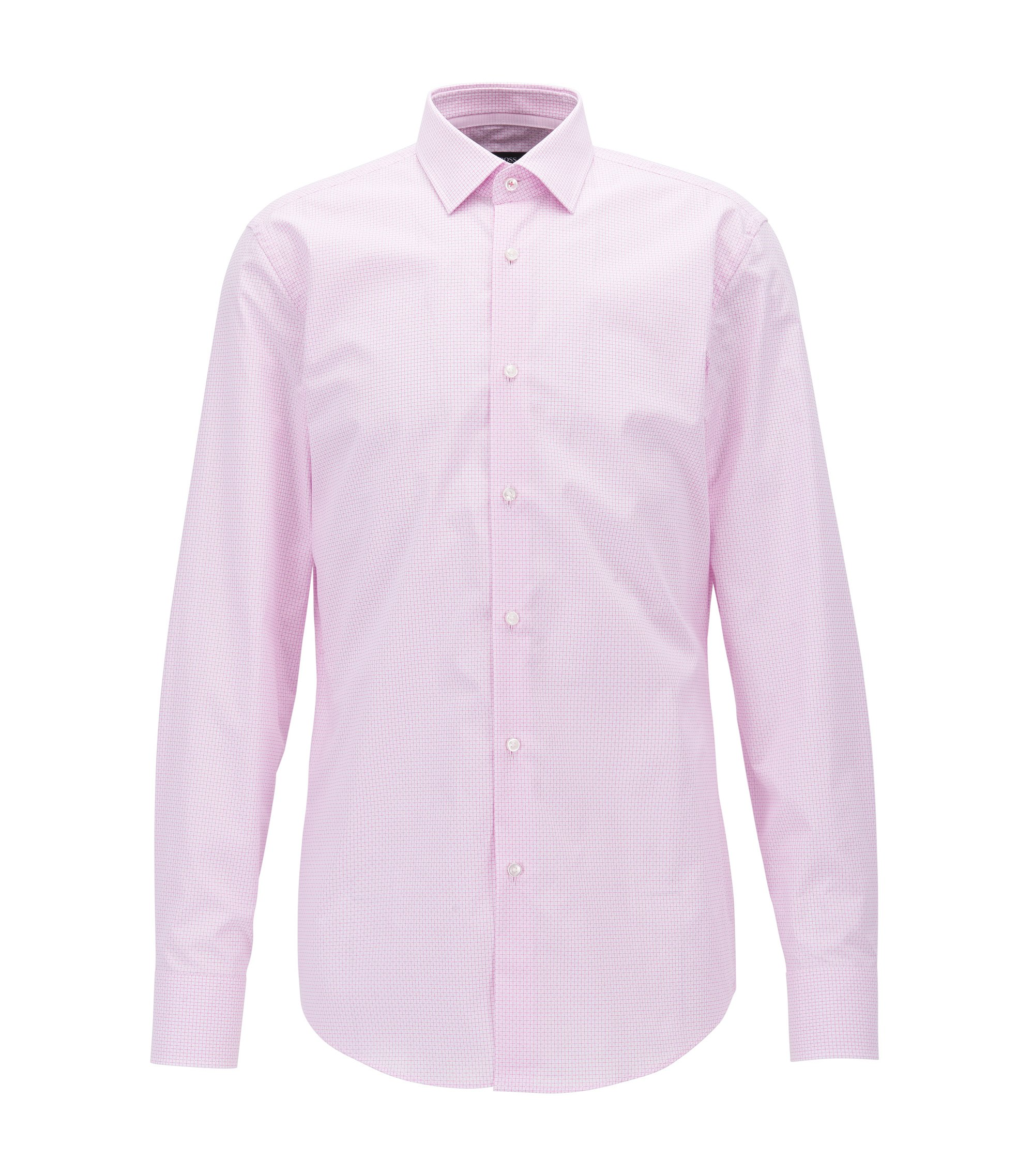 Slim-fit shirt in plain-check dobby cotton, light pink