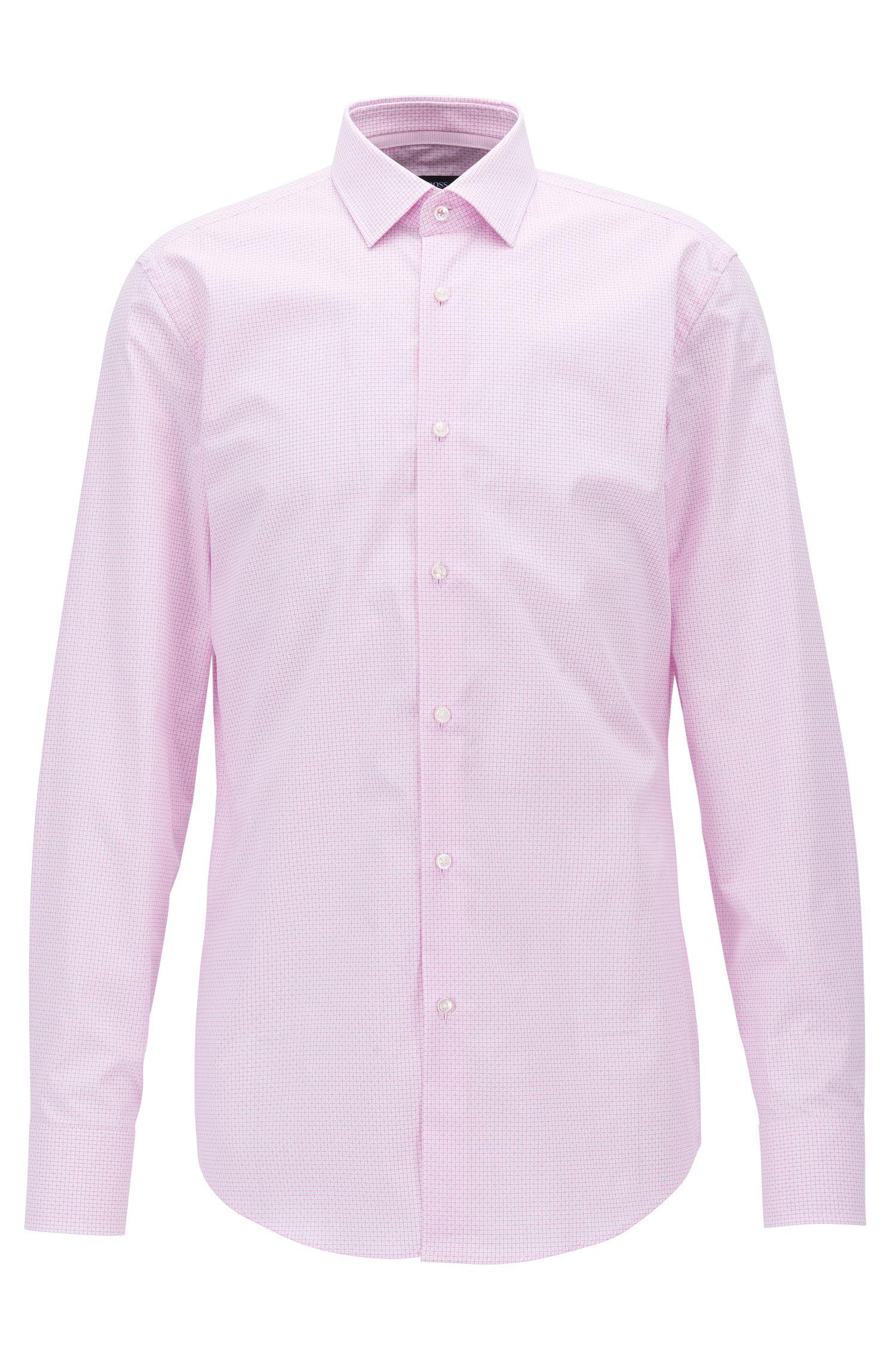 Slim-Fit Hemd aus strukturierter Baumwolle mit Karo-Muster