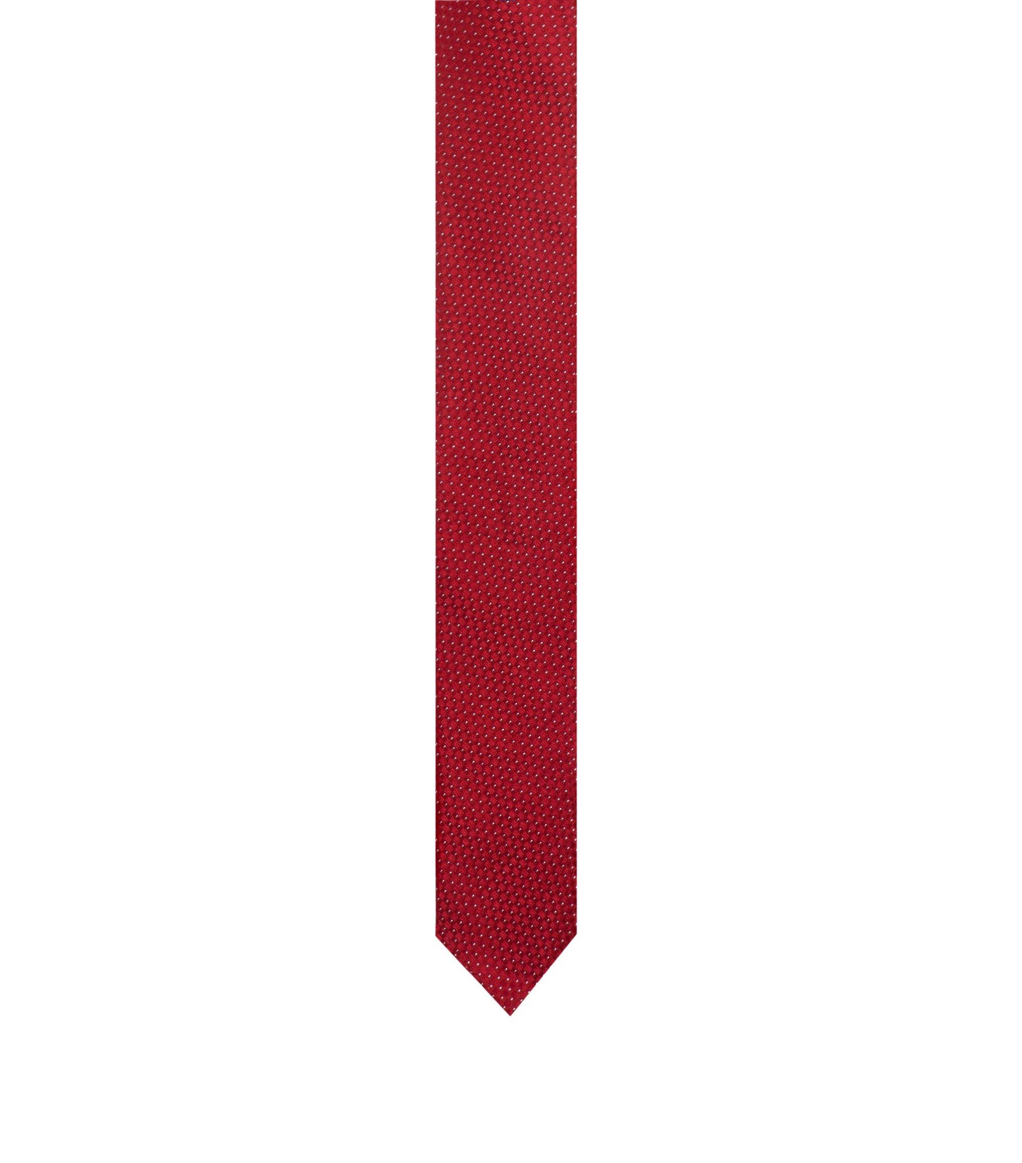 Cravate en jacquard de soie à micro-motif, Rouge
