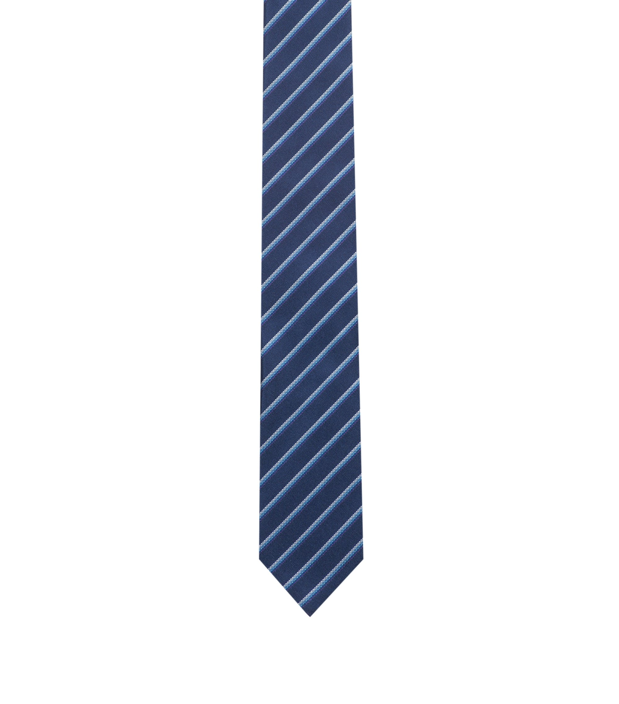 Silk tie with diagonal stripes, Dark Blue