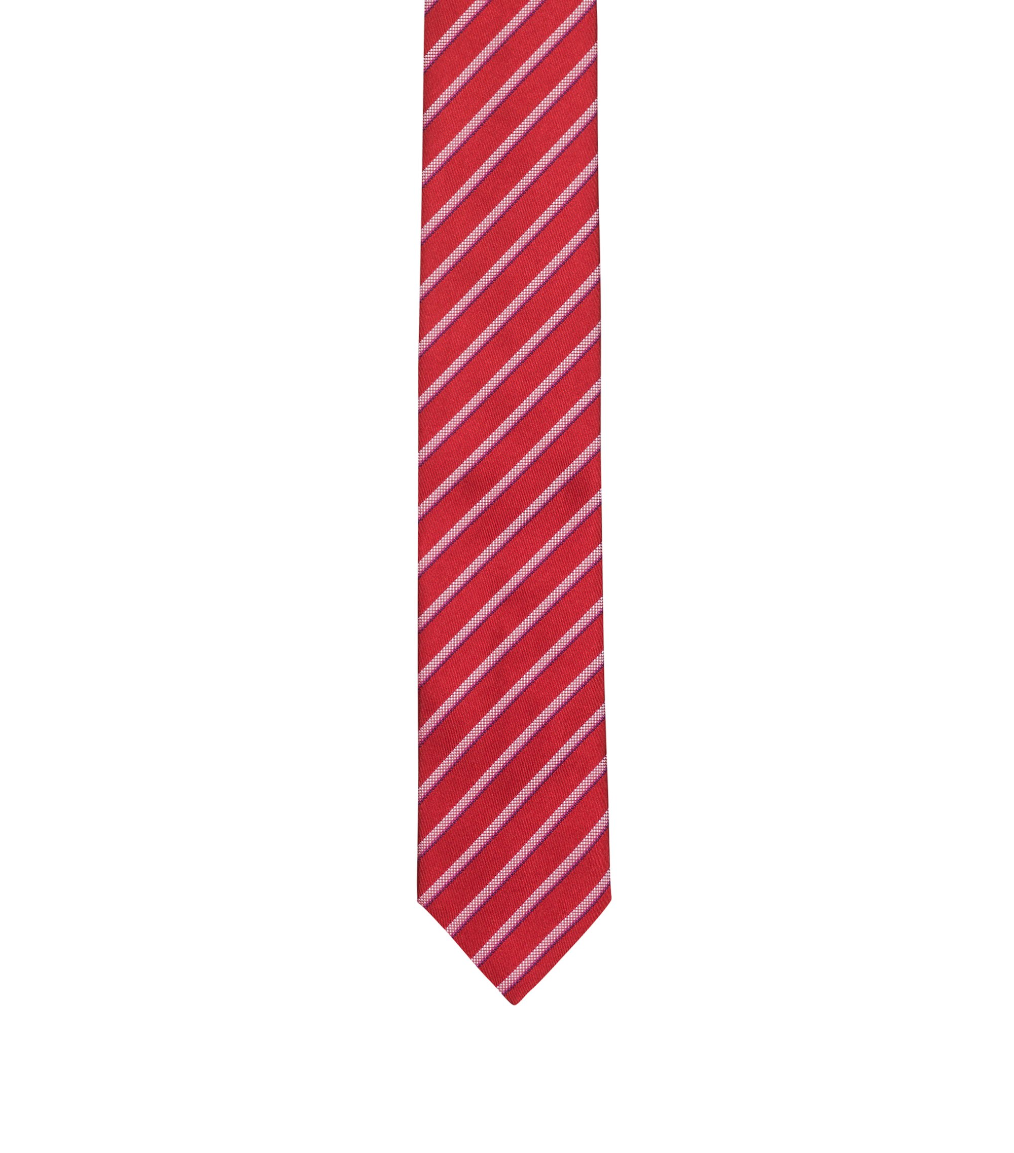 Silk tie with diagonal stripes, Red