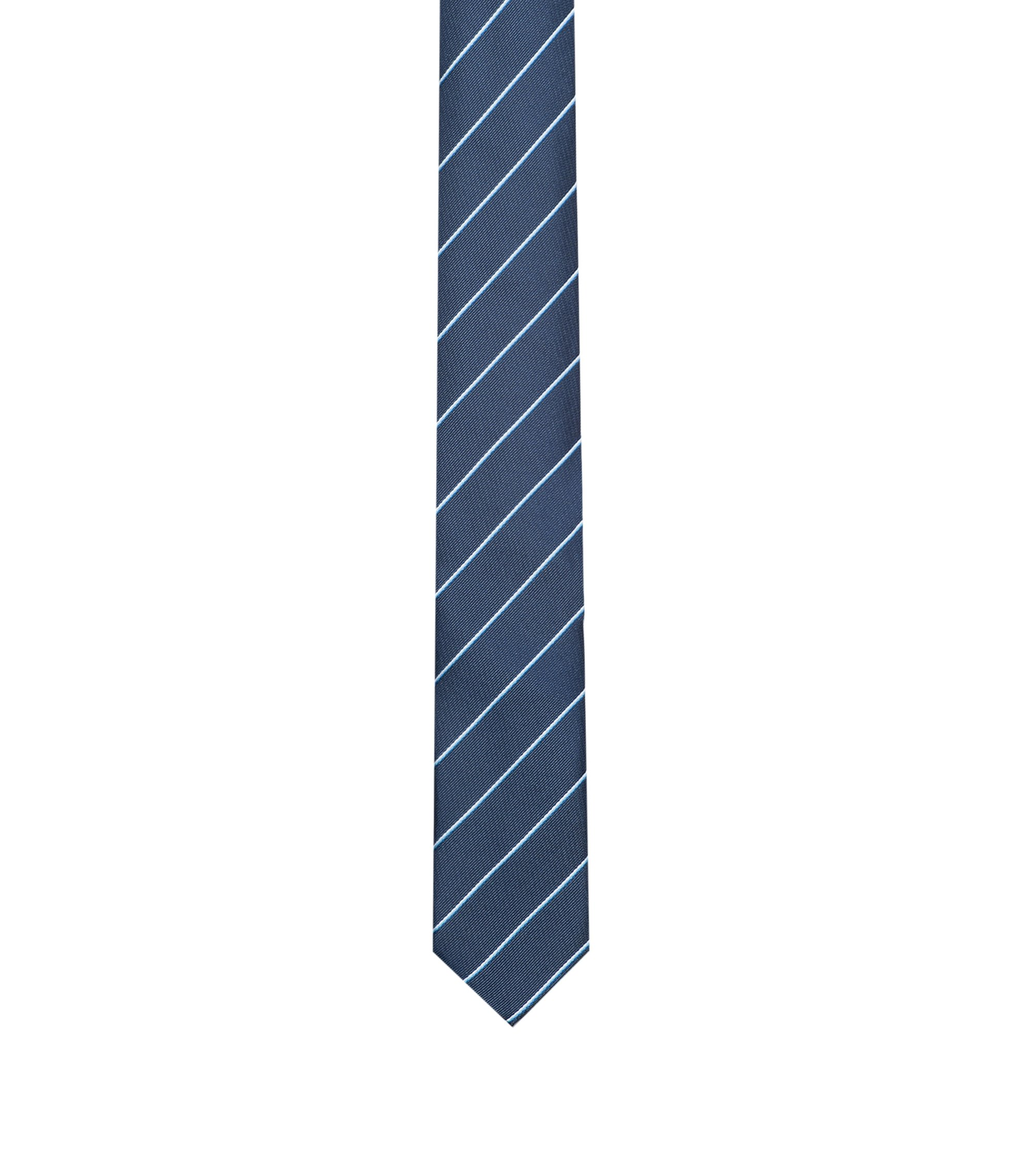 Striped tie in silk jacquard, Dark Blue