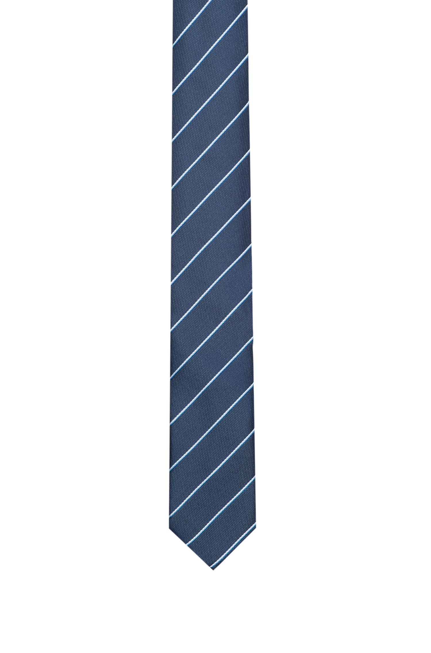 Striped tie in silk jacquard