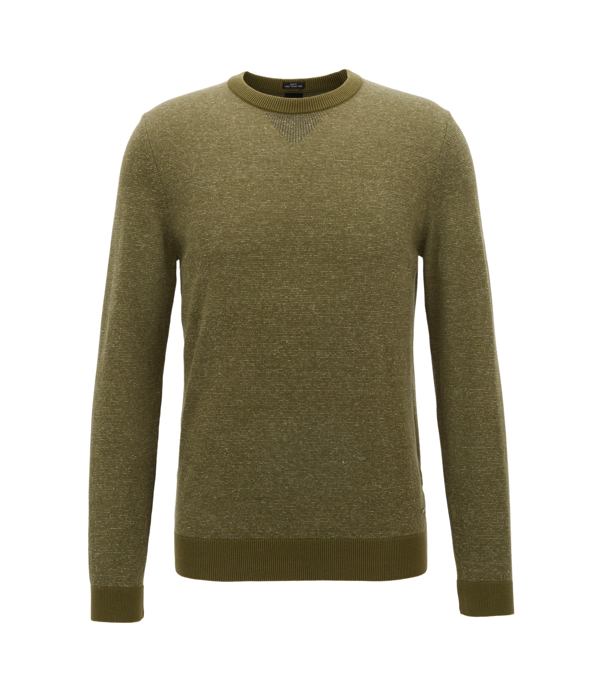 Slim-fit sweater in a mouliné cotton blend, Open Green