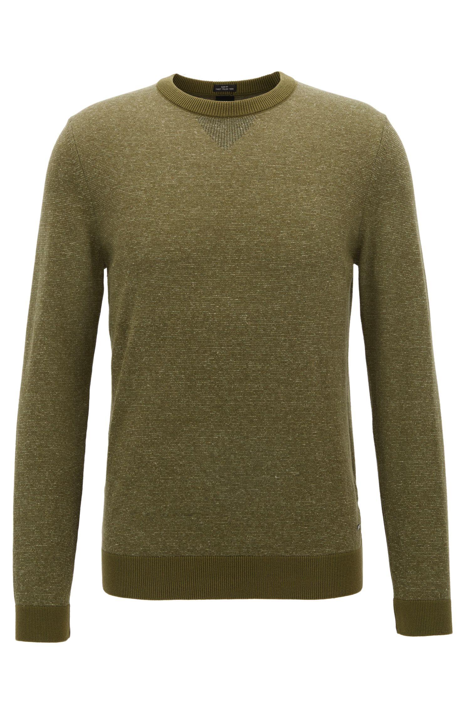 Slim-fit trui van een katoenmix in mouliné, Kalk