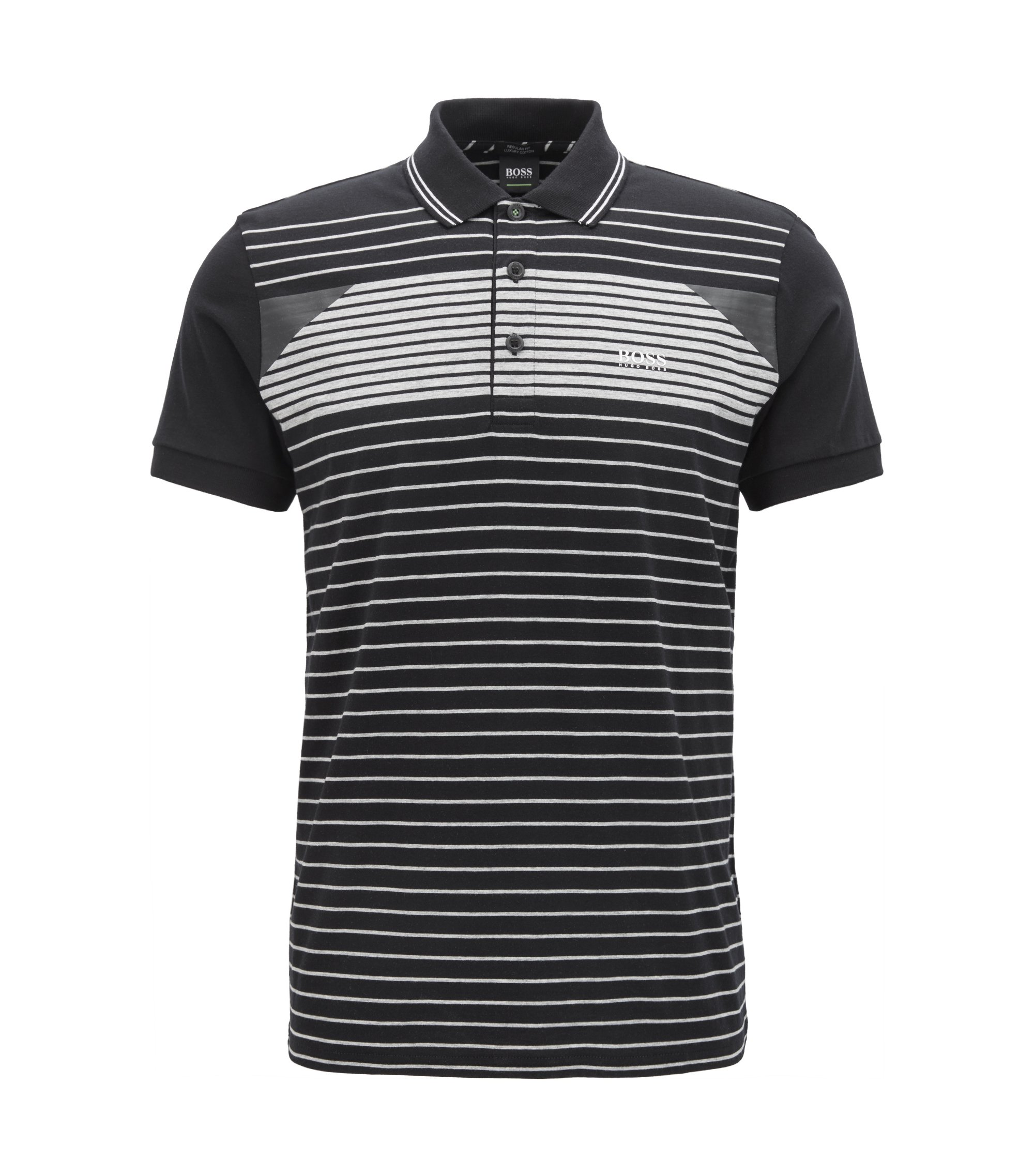 Striped polo shirt in cotton jersey, Black