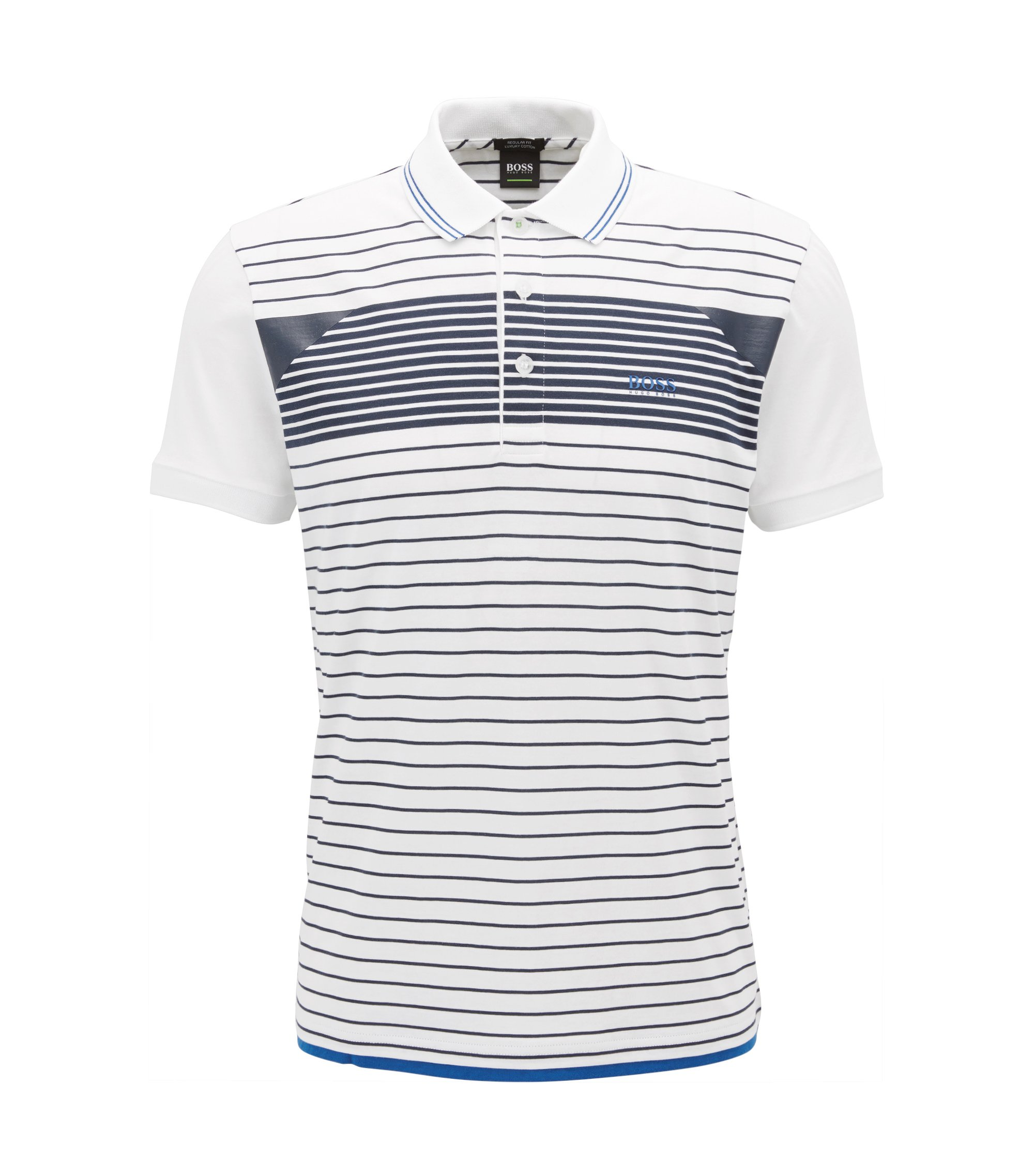 Striped polo shirt in cotton jersey, White
