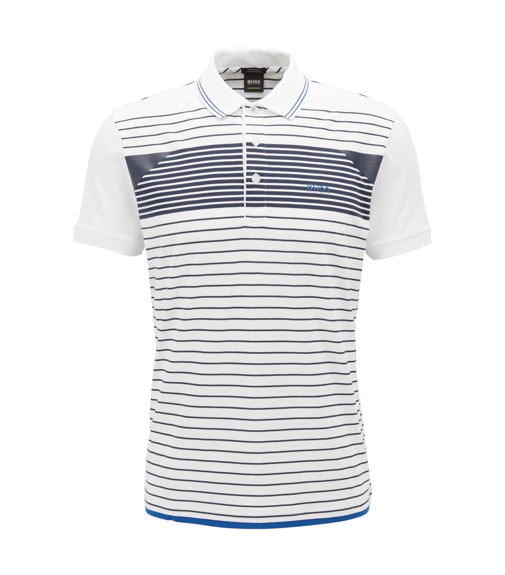 Gestreiftes Poloshirt aus Baumwoll-Jersey, Weiß