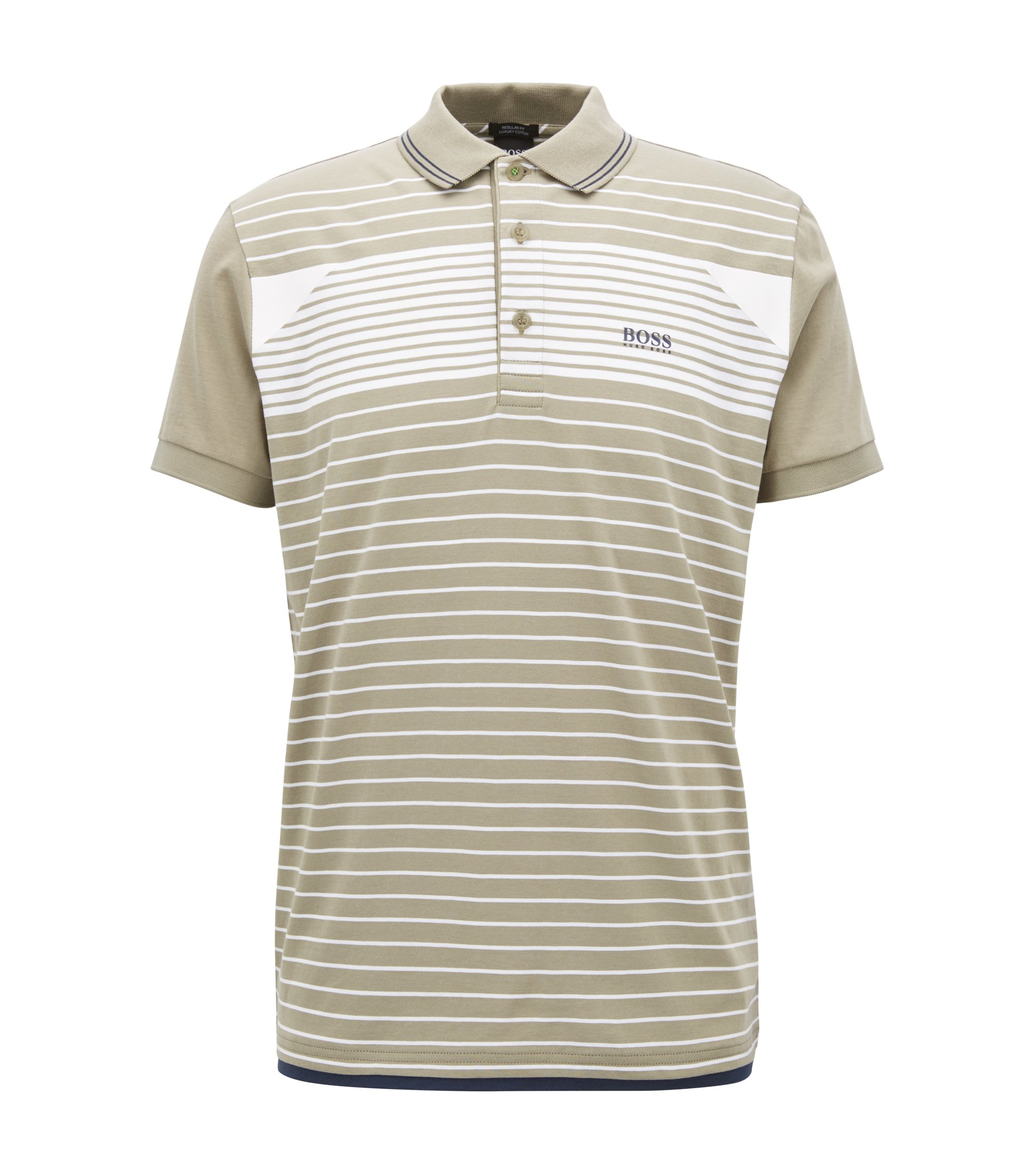 Striped polo shirt in cotton jersey, Beige