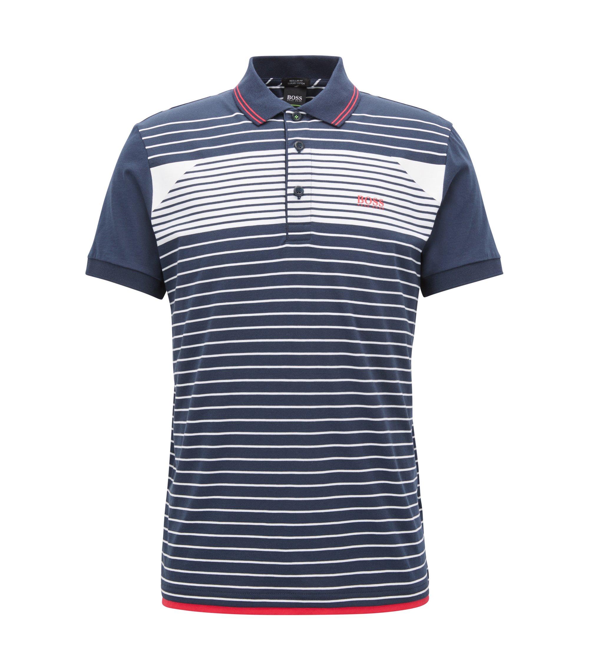 Polo en jersey de coton à rayures, Bleu foncé