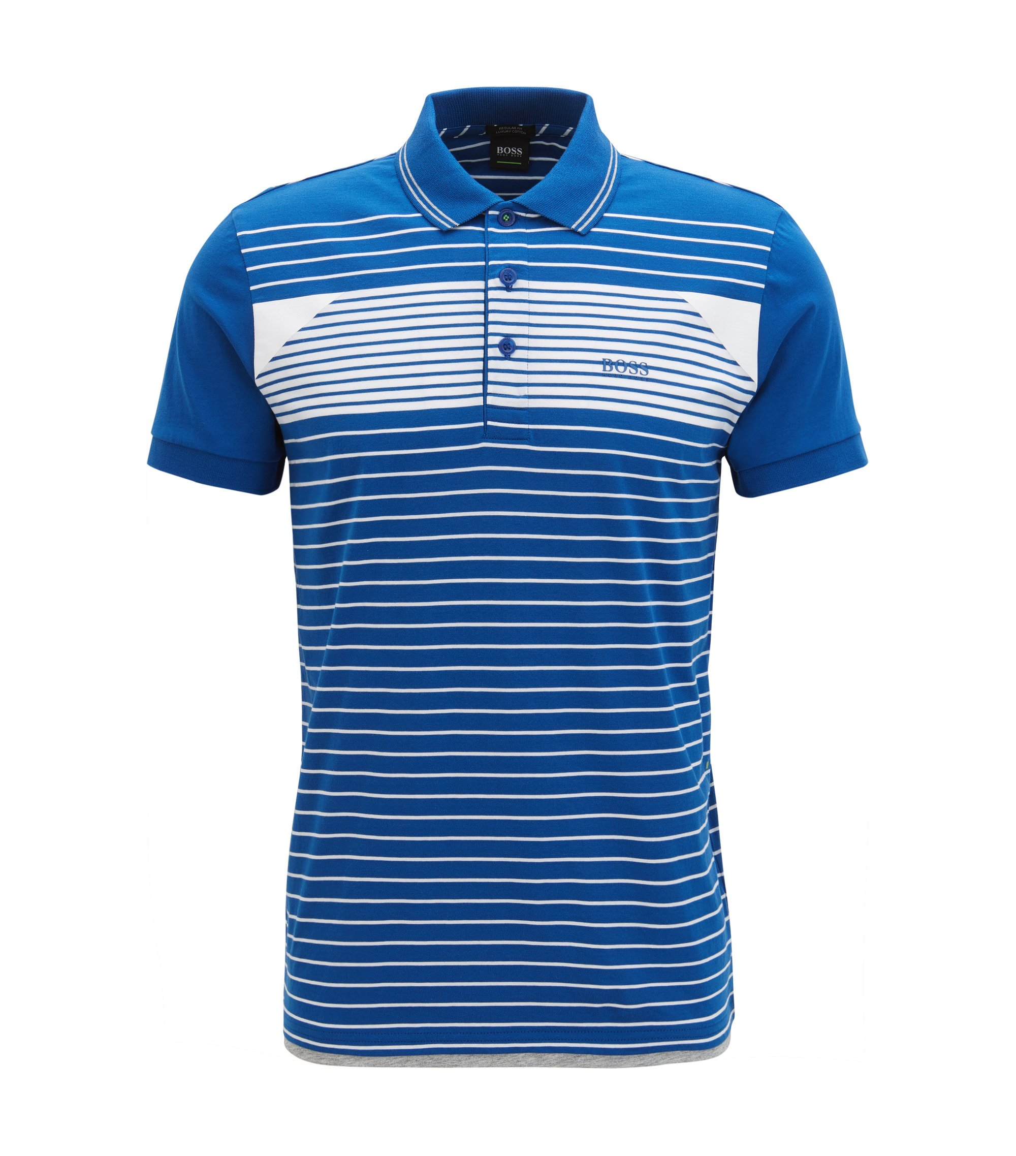 Striped polo shirt in cotton jersey, Blue