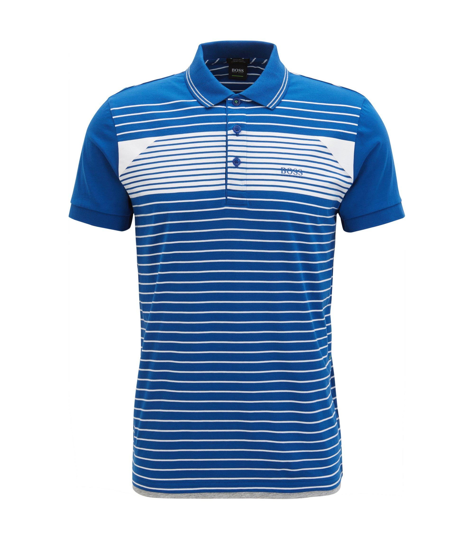Polo en jersey de coton à rayures, Bleu