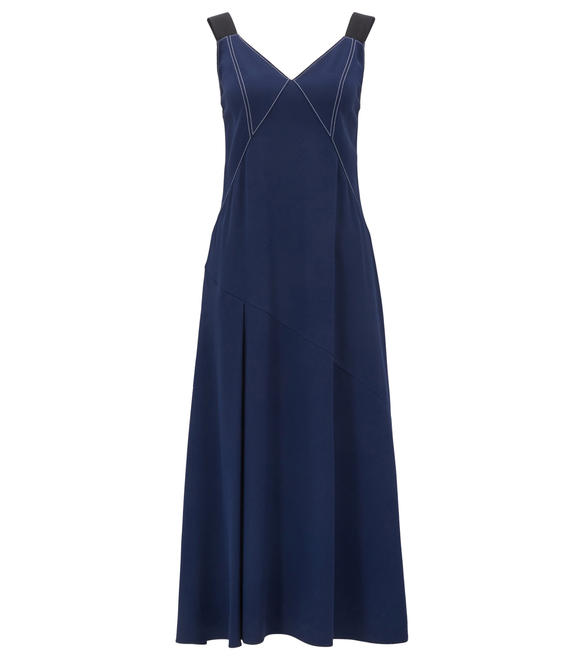 V-neck crêpe dress with contrast topstitching, Blue