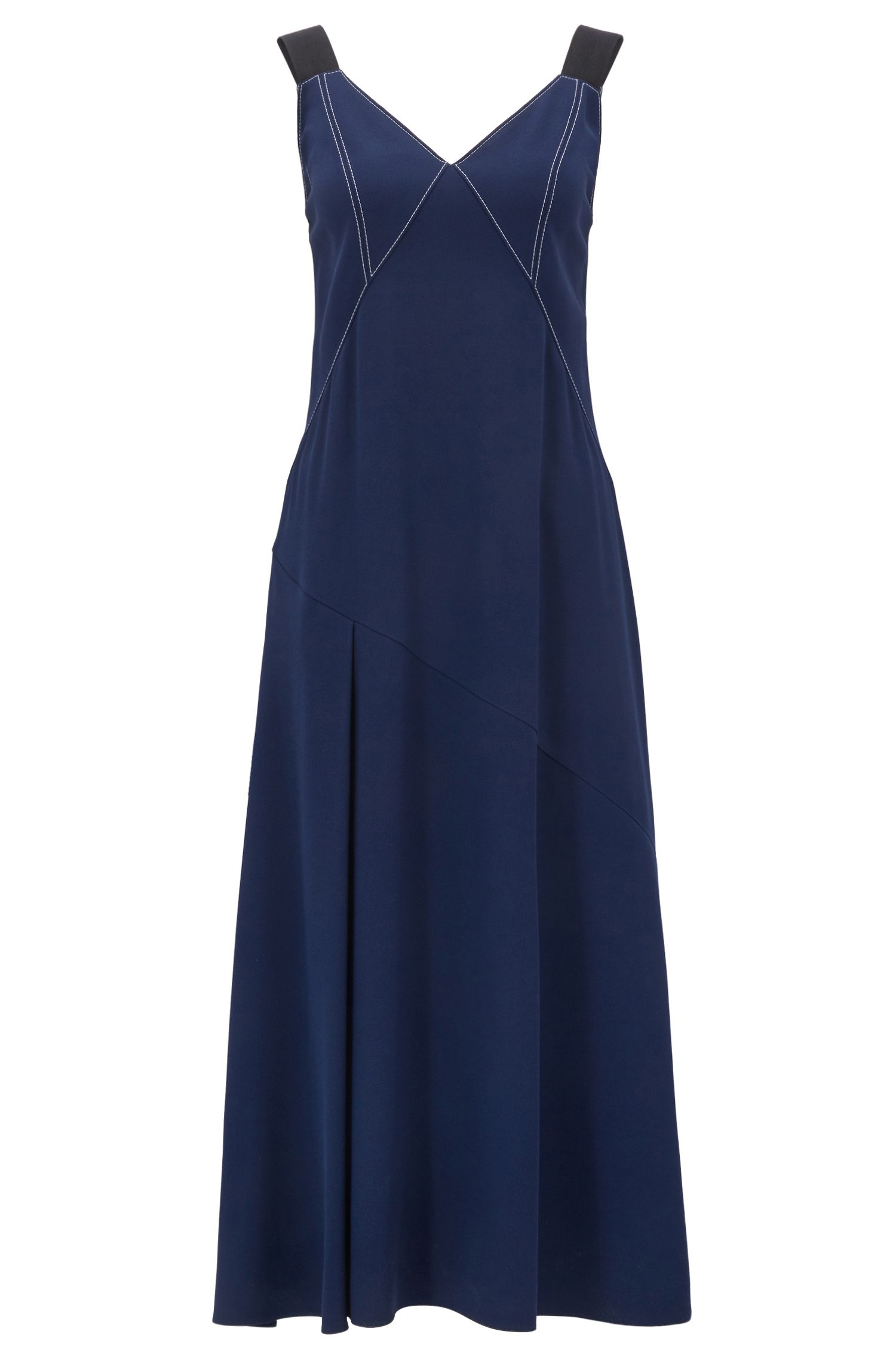 V-neck crêpe dress with contrast topstitching