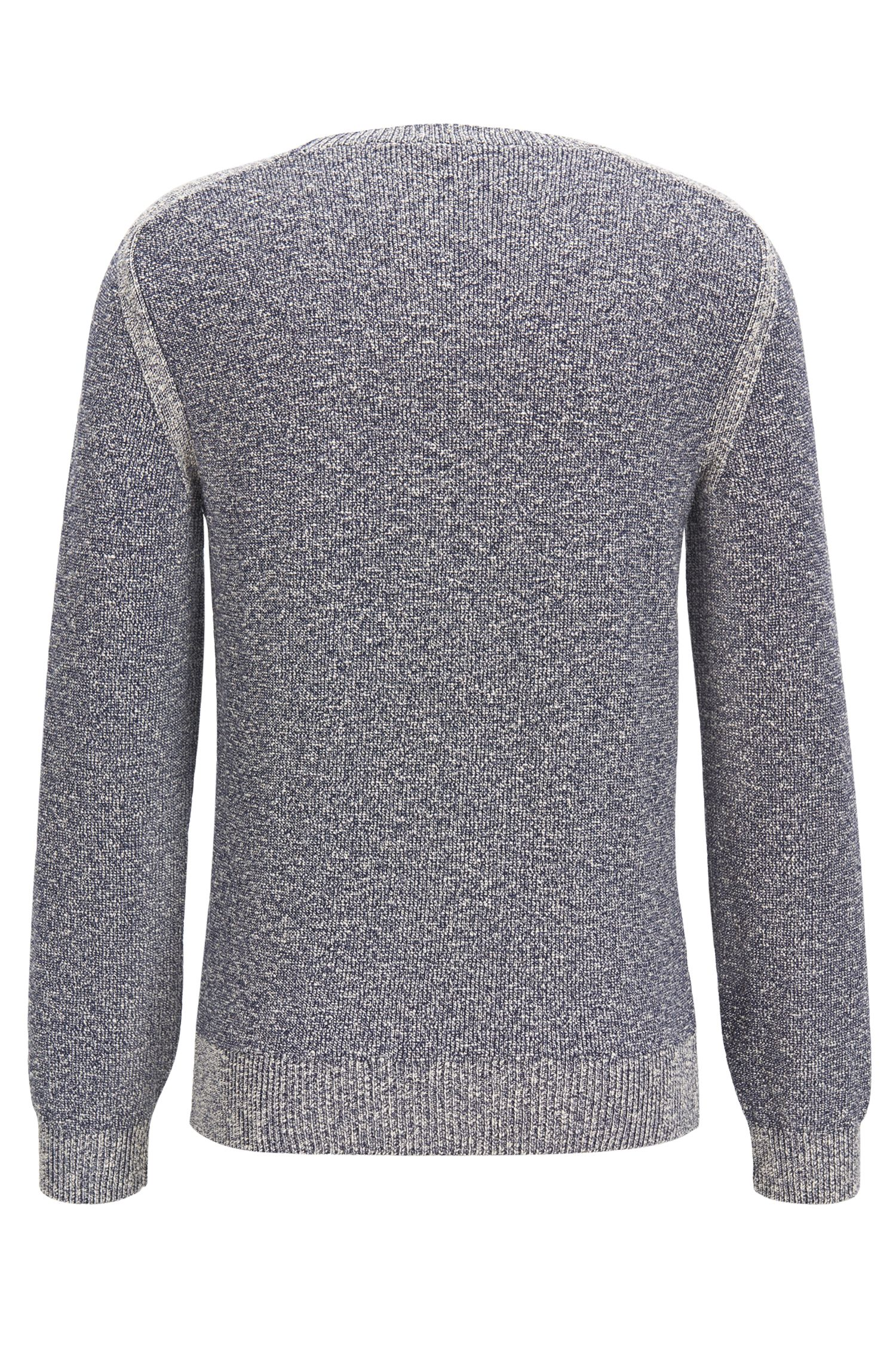 Mouliné cotton-blend sweater with shoulder detailing, Dark Blue