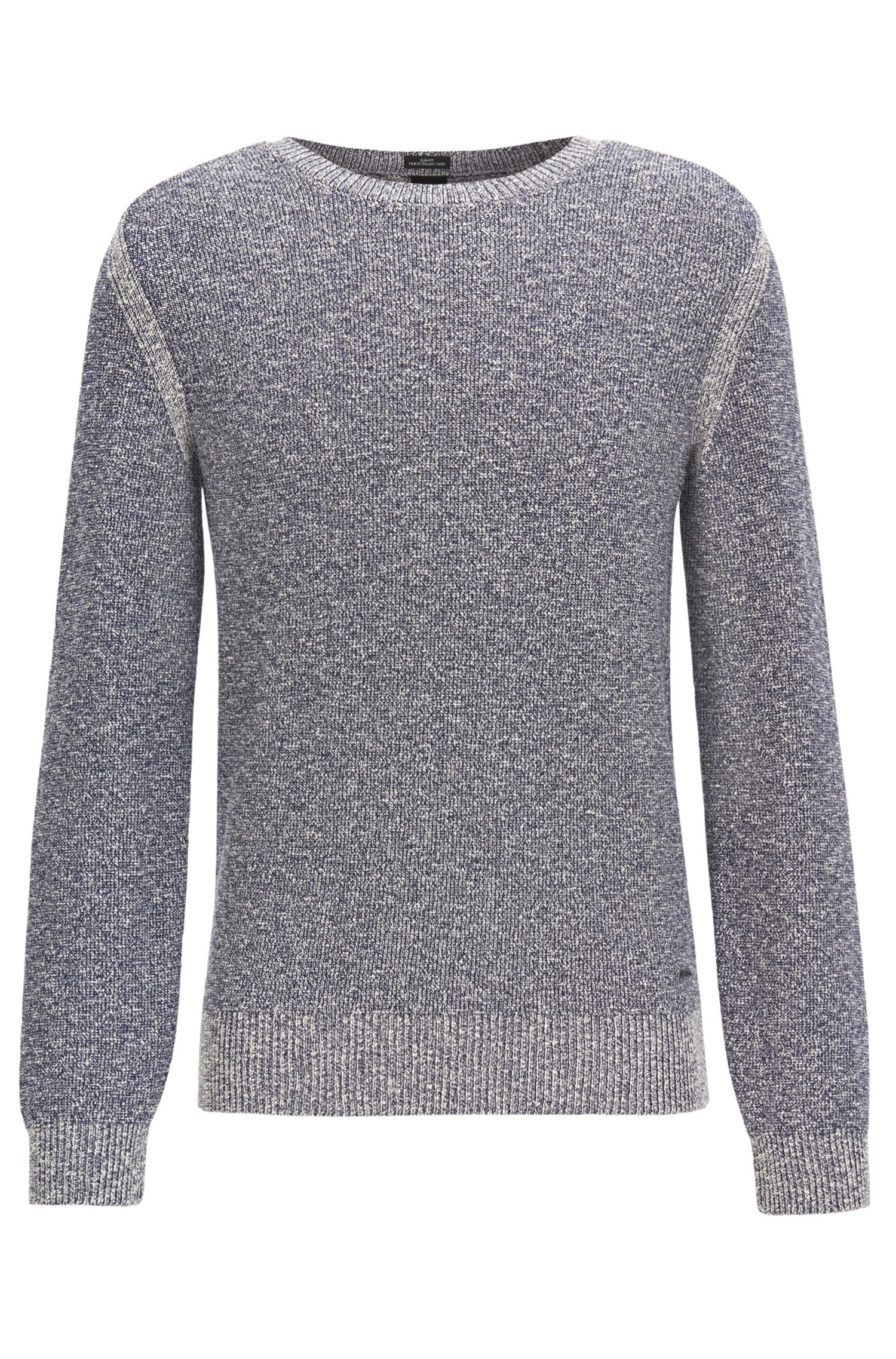Mouliné cotton-blend sweater with shoulder detailing