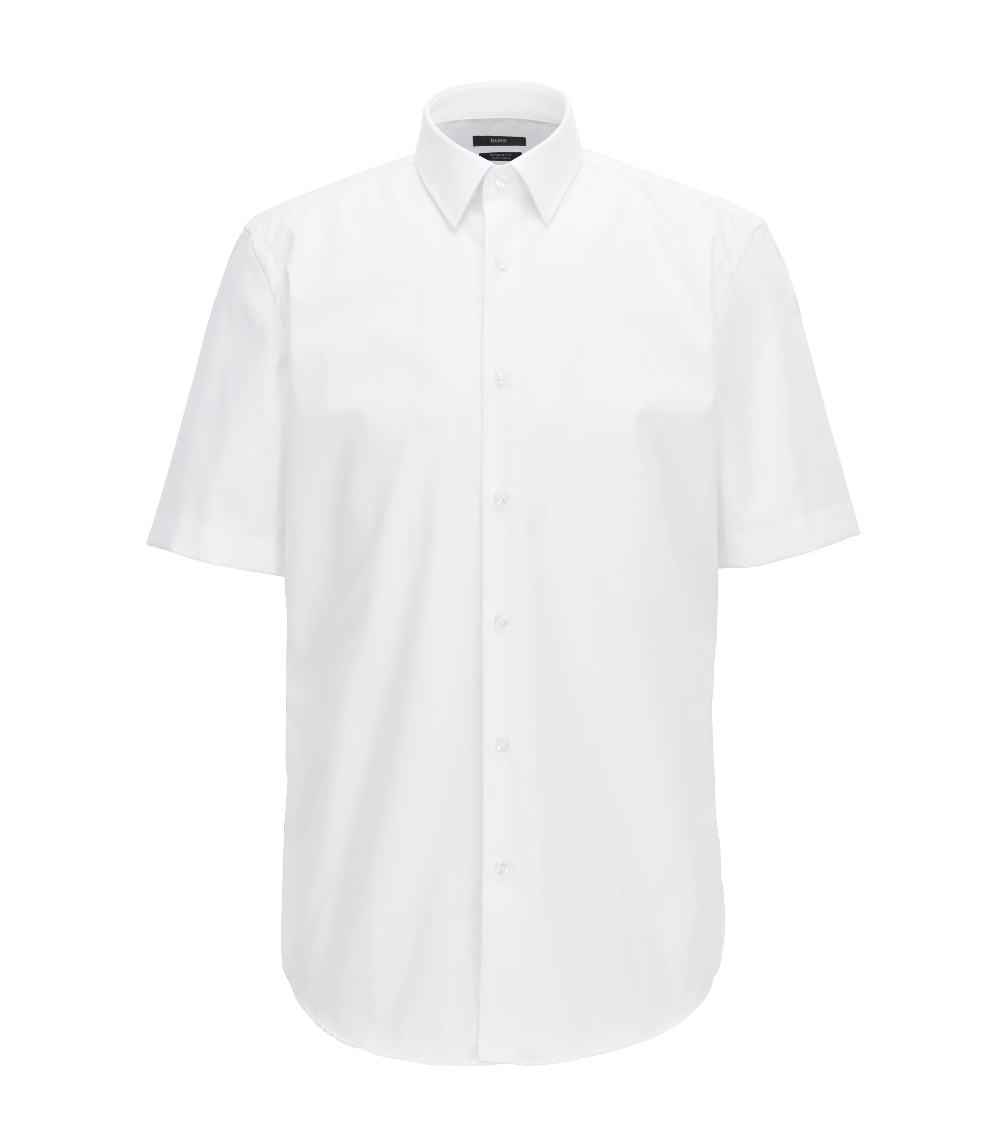 Short-sleeved easy-iron cotton poplin shirt, White