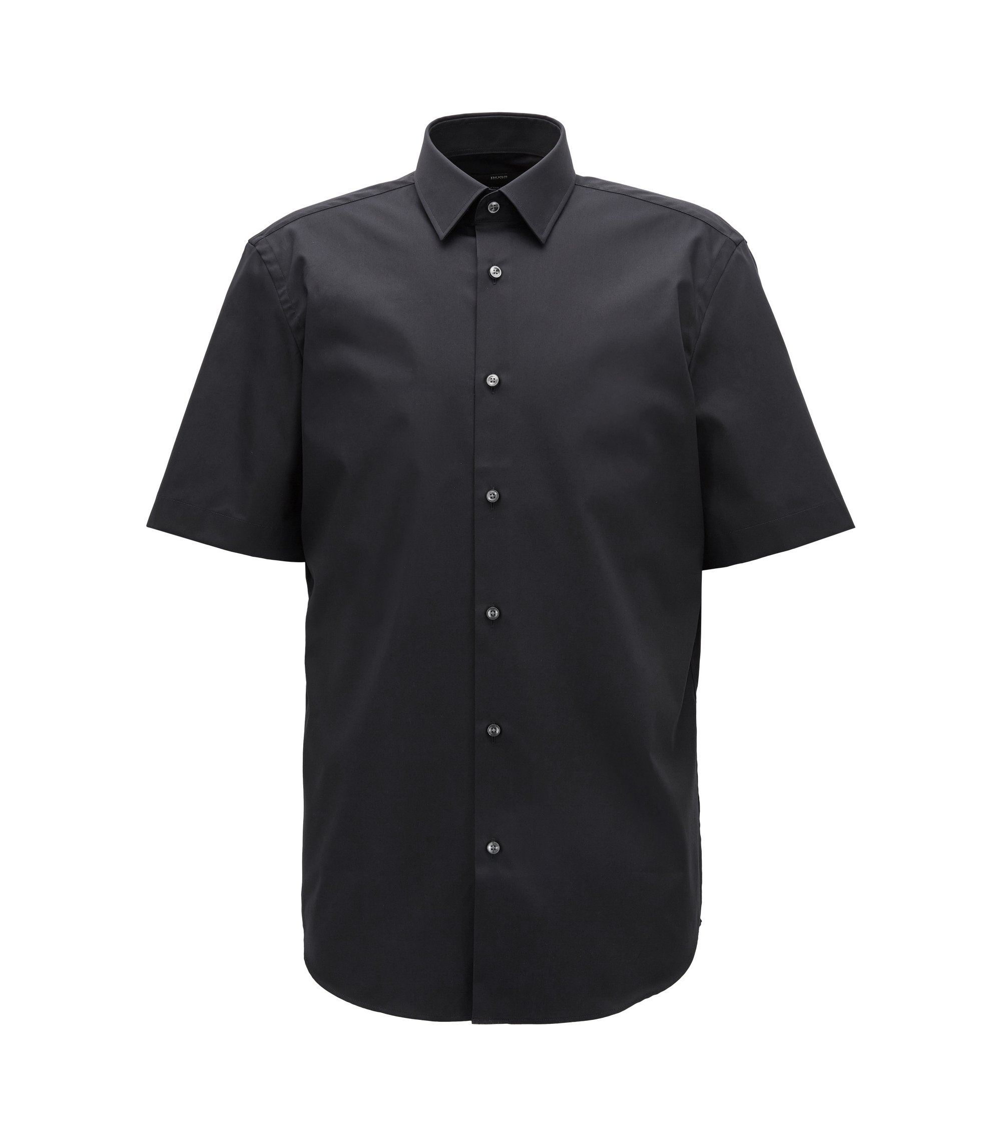 Short-sleeved easy-iron cotton poplin shirt, Dark Blue