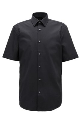 Short-sleeved easy-iron cotton poplin shirt, Dark Blue