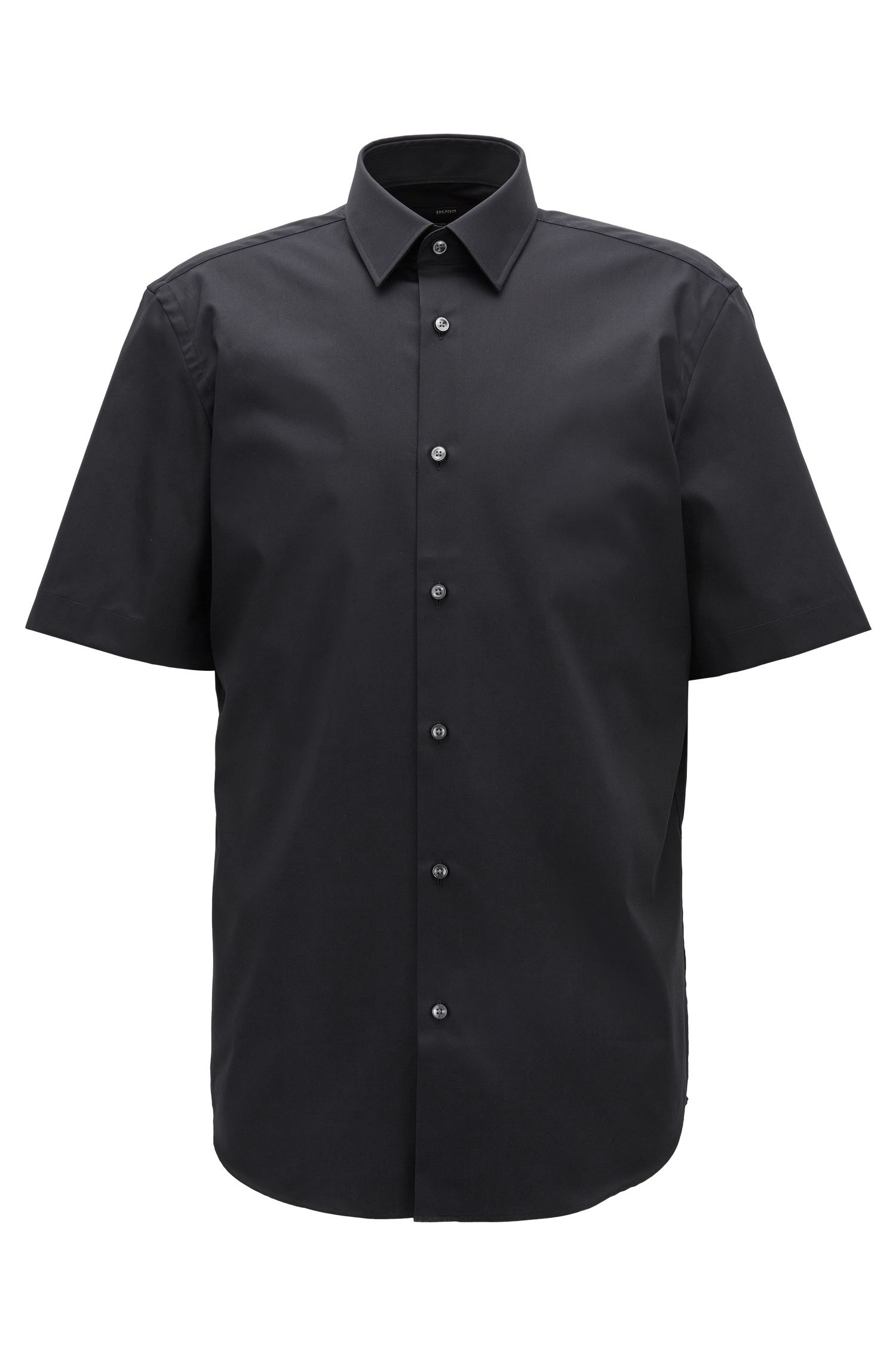 Short-sleeved easy-iron cotton poplin shirt