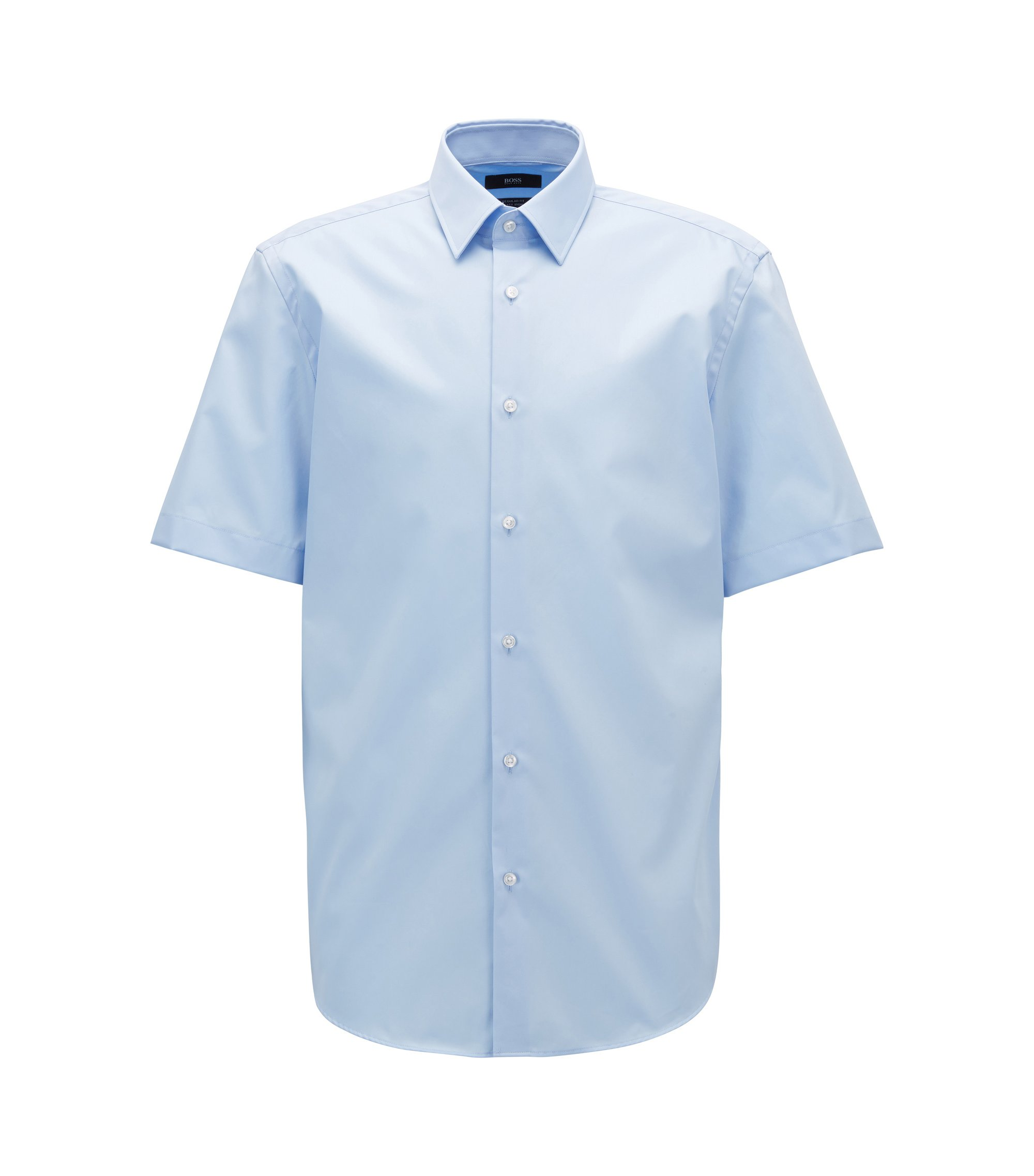 Short-sleeved easy-iron cotton poplin shirt, Light Blue