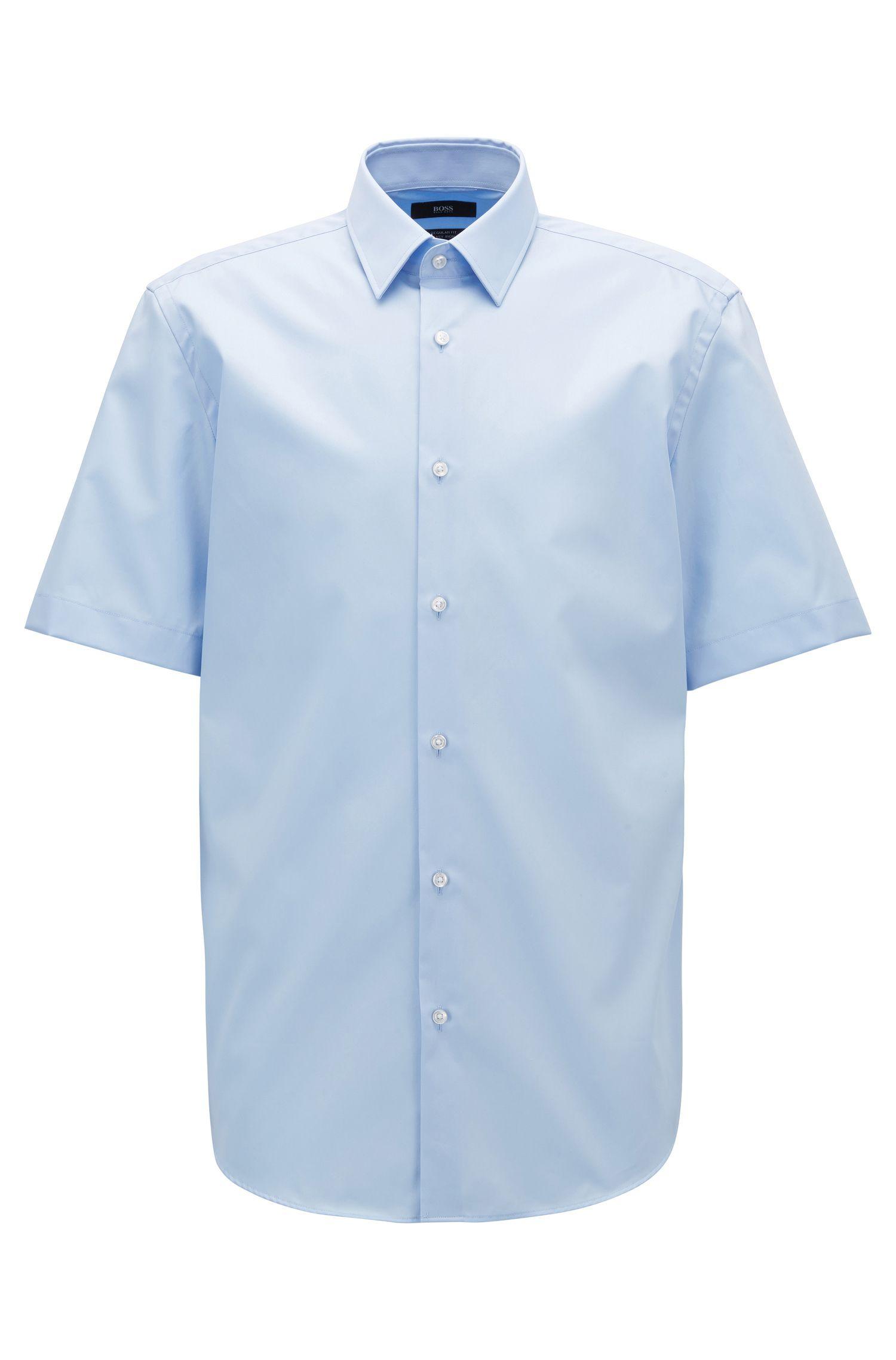 Regular-Fit Kurzarm-Hemd aus bügelleichter Baumwoll-Popeline