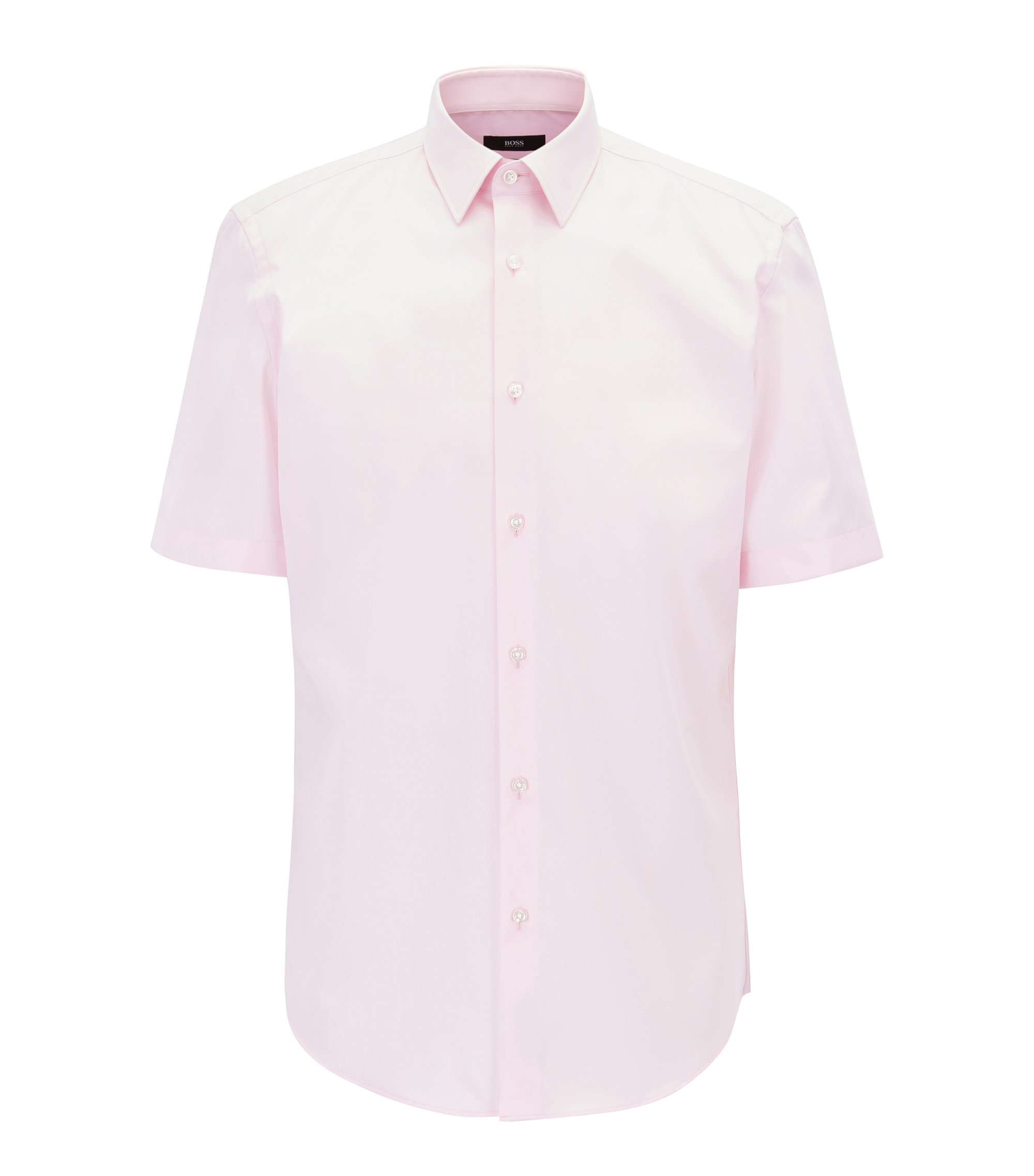 Short-sleeved easy-iron cotton poplin shirt, light pink