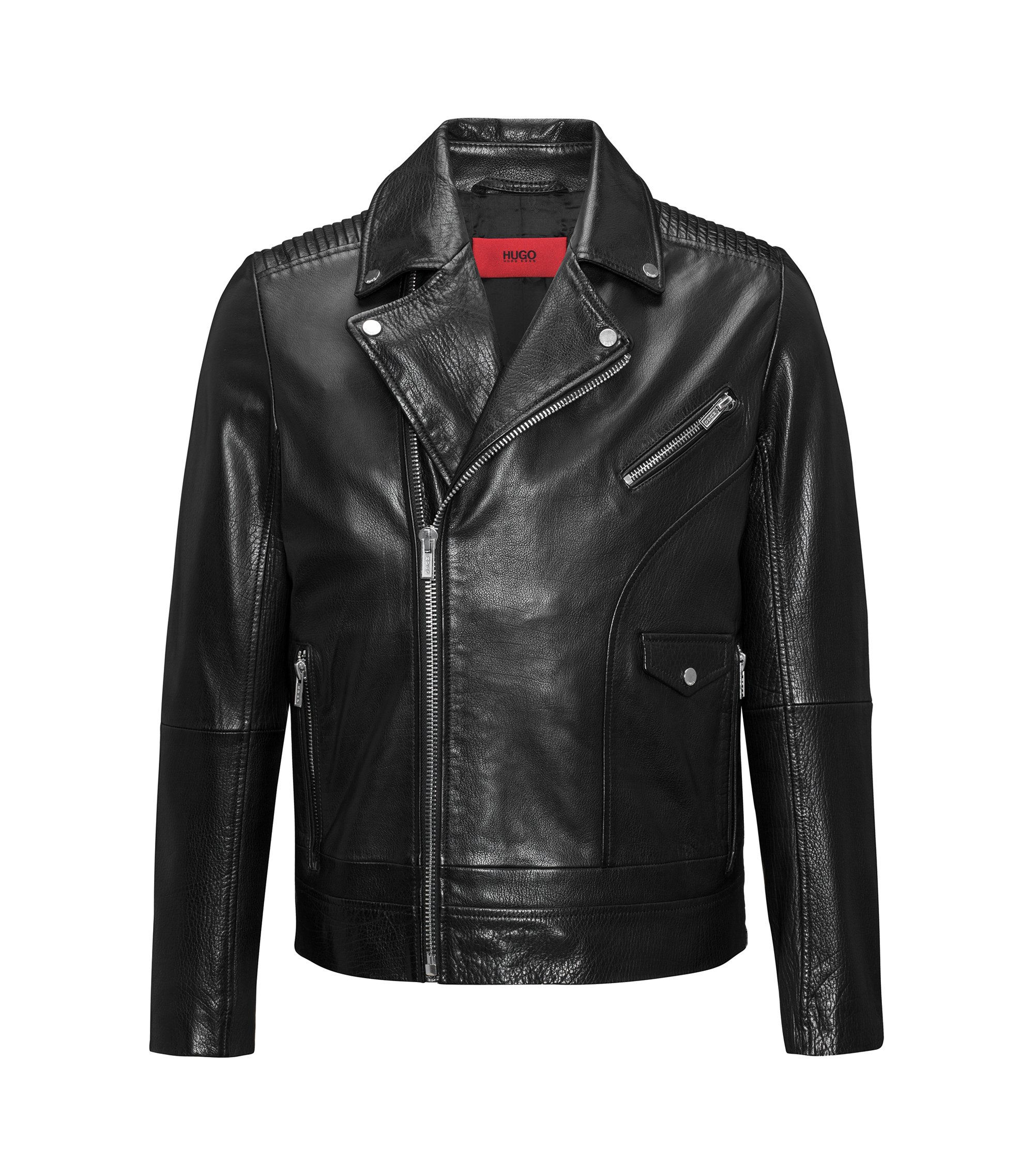 Asymmetric biker jacket in buffalo nappa leather with graffiti print, Black