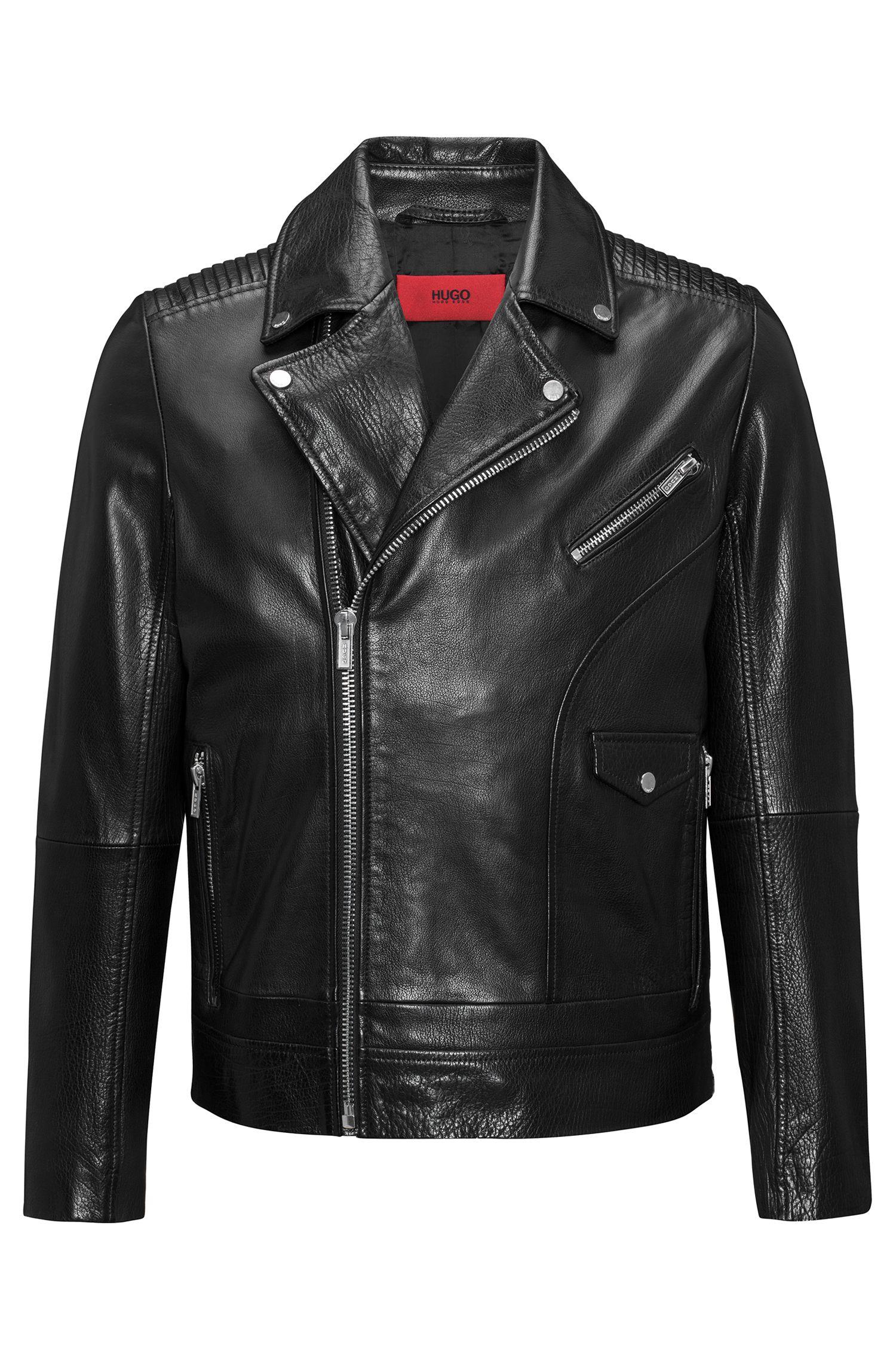 Asymmetric biker jacket in buffalo nappa leather with graffiti print