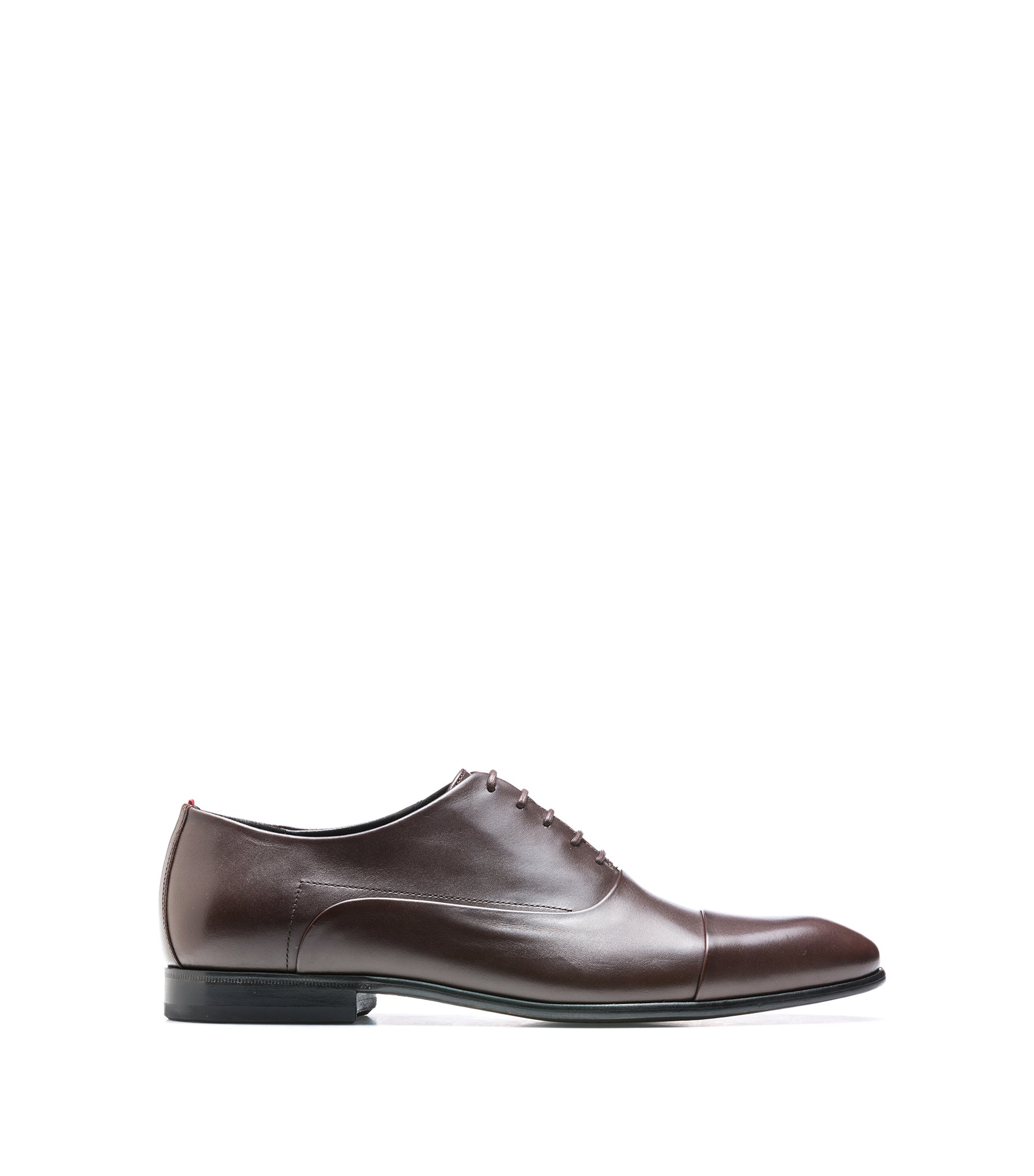 Scarpe oxford in pelle di vitello liscia, Marrone scuro