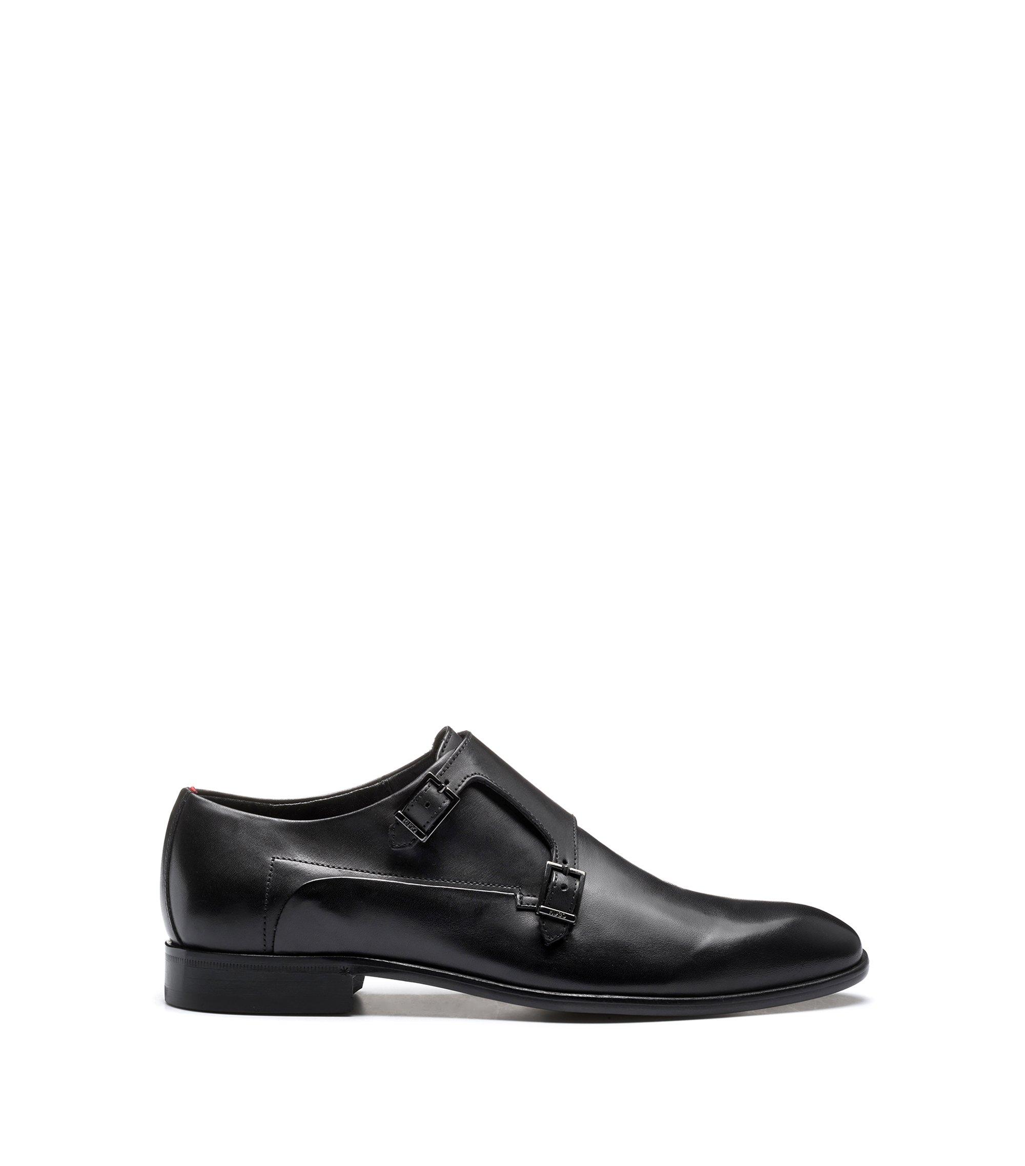 Leren schoenen met dubbele gesp, Zwart
