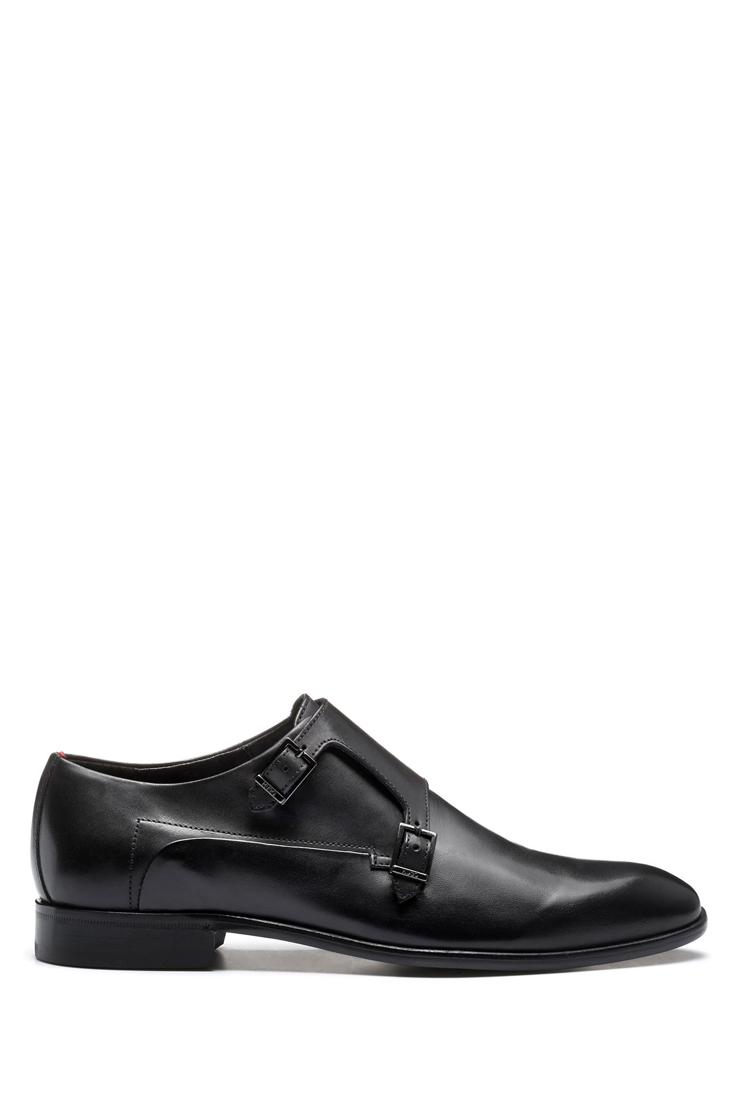 Leather shoes with double monk strap, Black